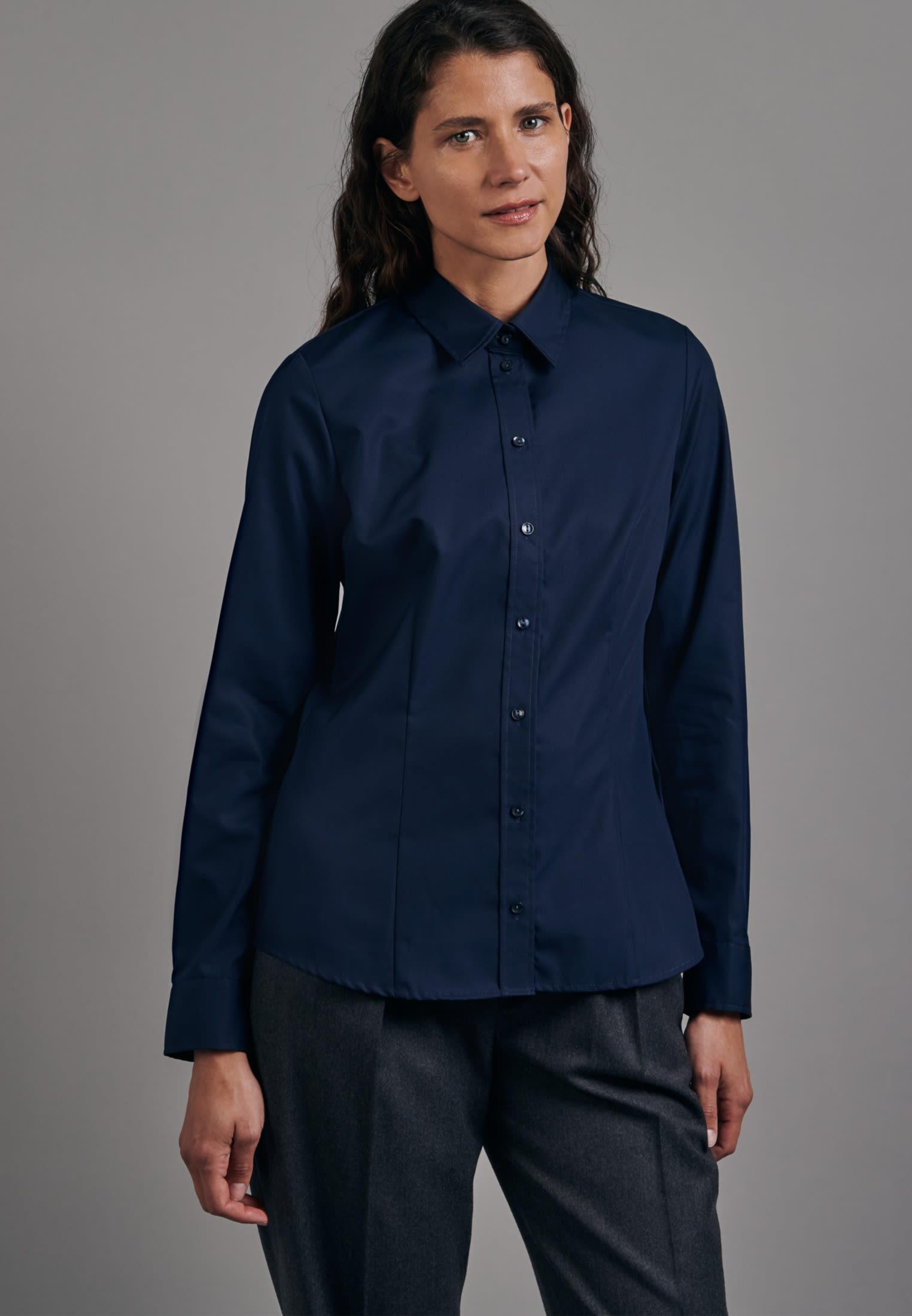 Bügelfreie Fil a fil Hemdbluse aus 100% Baumwolle in Dunkelblau    Seidensticker Onlineshop