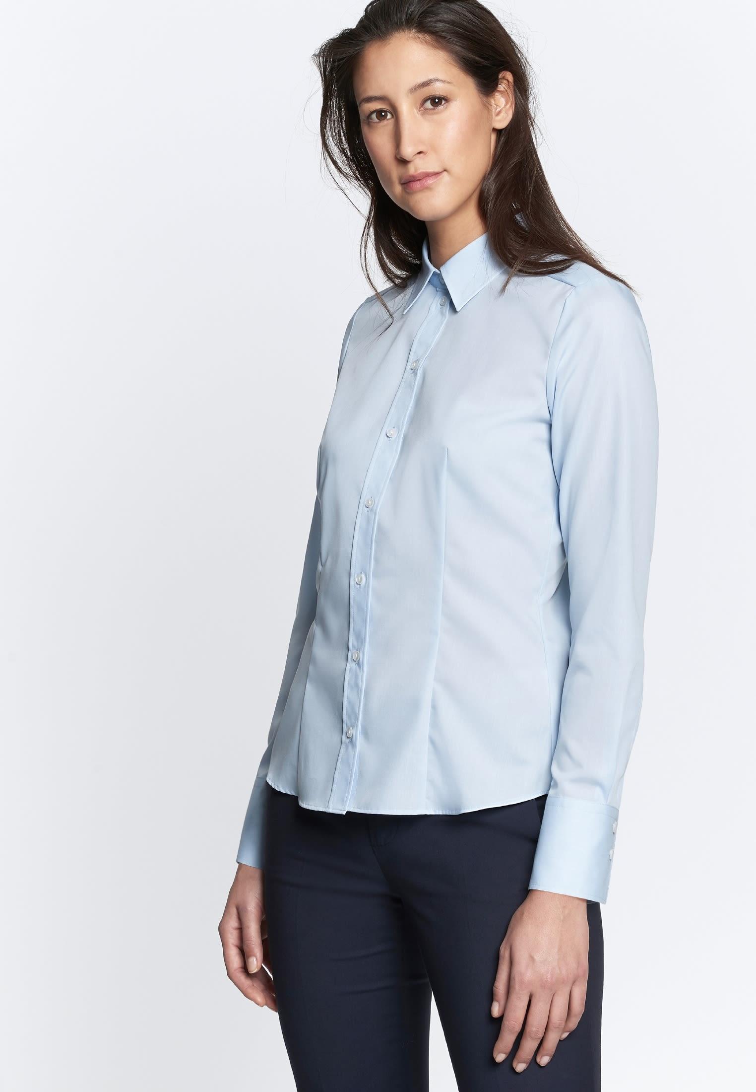 Non-iron Fil a fil Shirt Blouse made of 100% Cotton in Light blue |  Seidensticker Onlineshop
