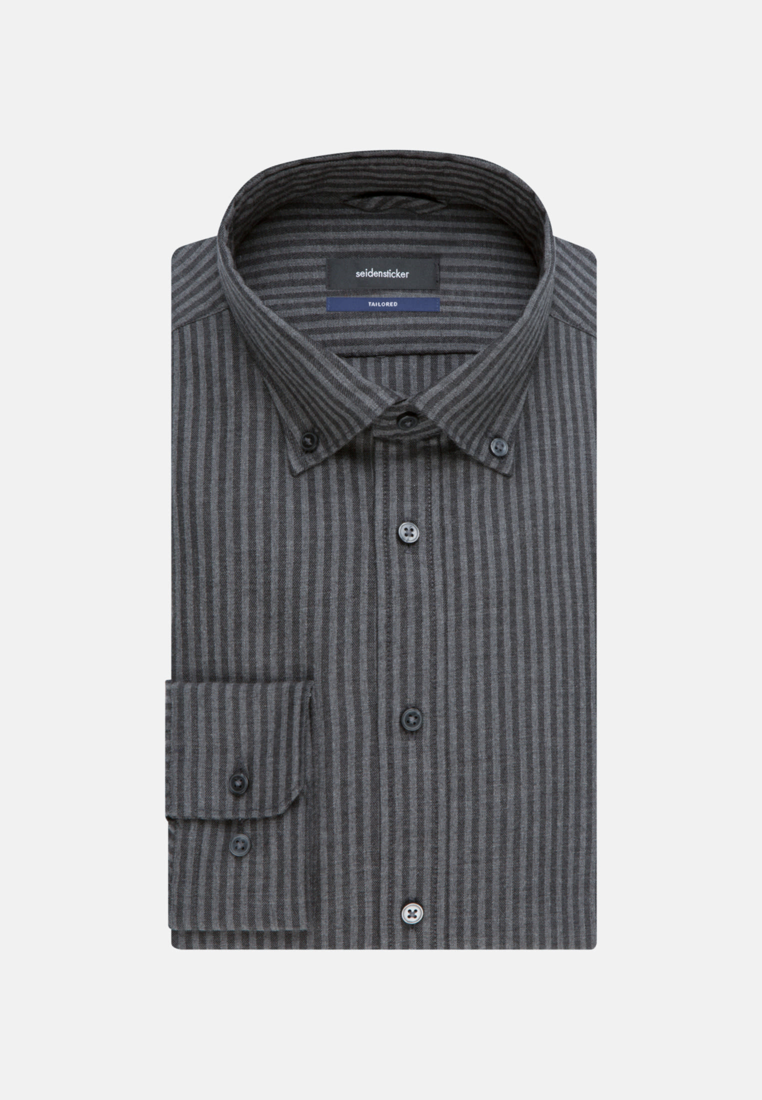Easy-iron Twill Business Shirt in Tailored with Button-Down-Collar in anthra    Seidensticker Onlineshop