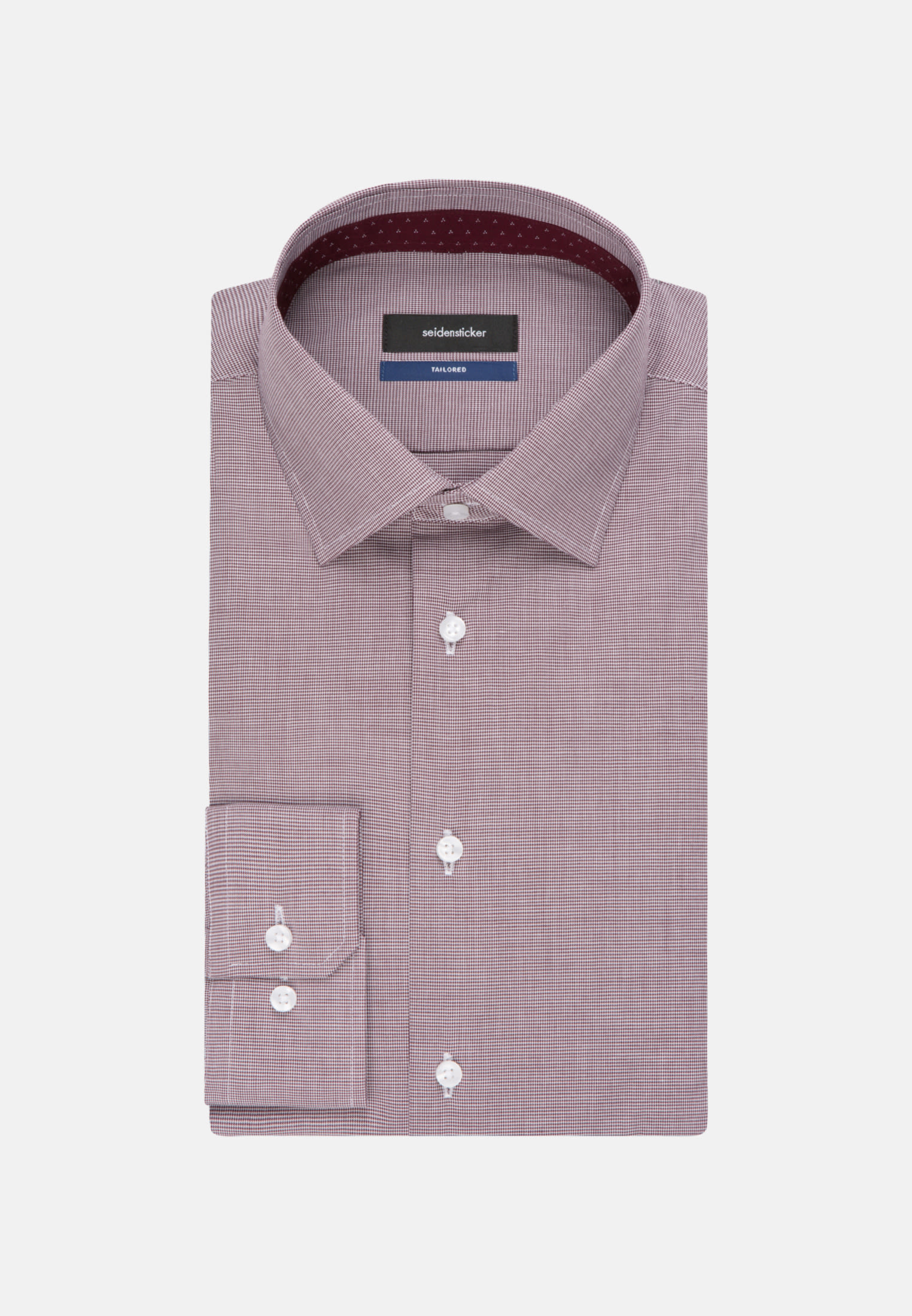 Non-iron Pepita/tooth-peg check Business Shirt in Shaped with Kent-Collar in Red |  Seidensticker Onlineshop