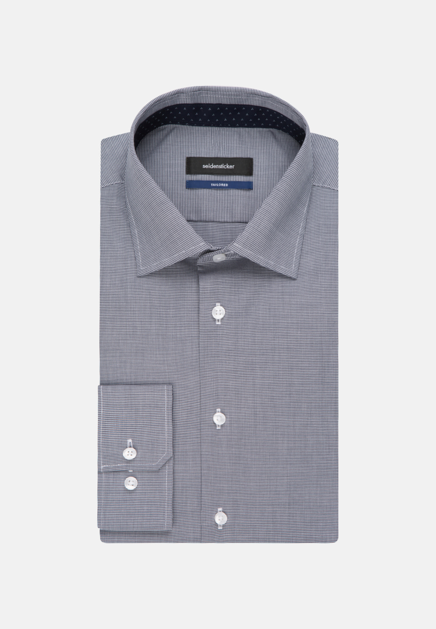 Non-iron Pepita/tooth-peg check Business Shirt in Shaped with Kent-Collar in Dark blue |  Seidensticker Onlineshop