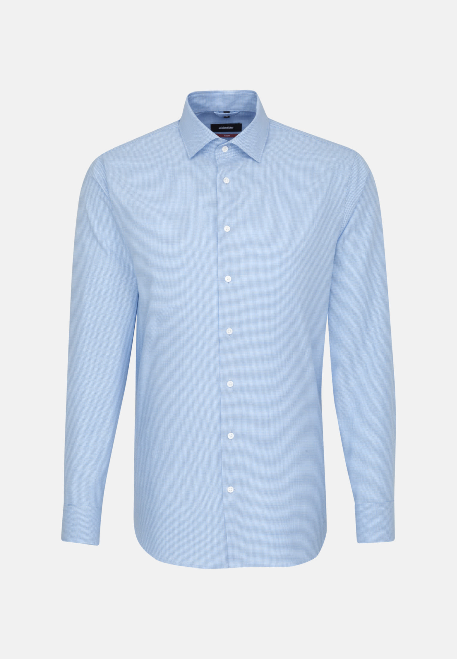 Easy-iron Pepita/tooth-peg check Business Shirt in Regular with Kent-Collar in Light blue |  Seidensticker Onlineshop