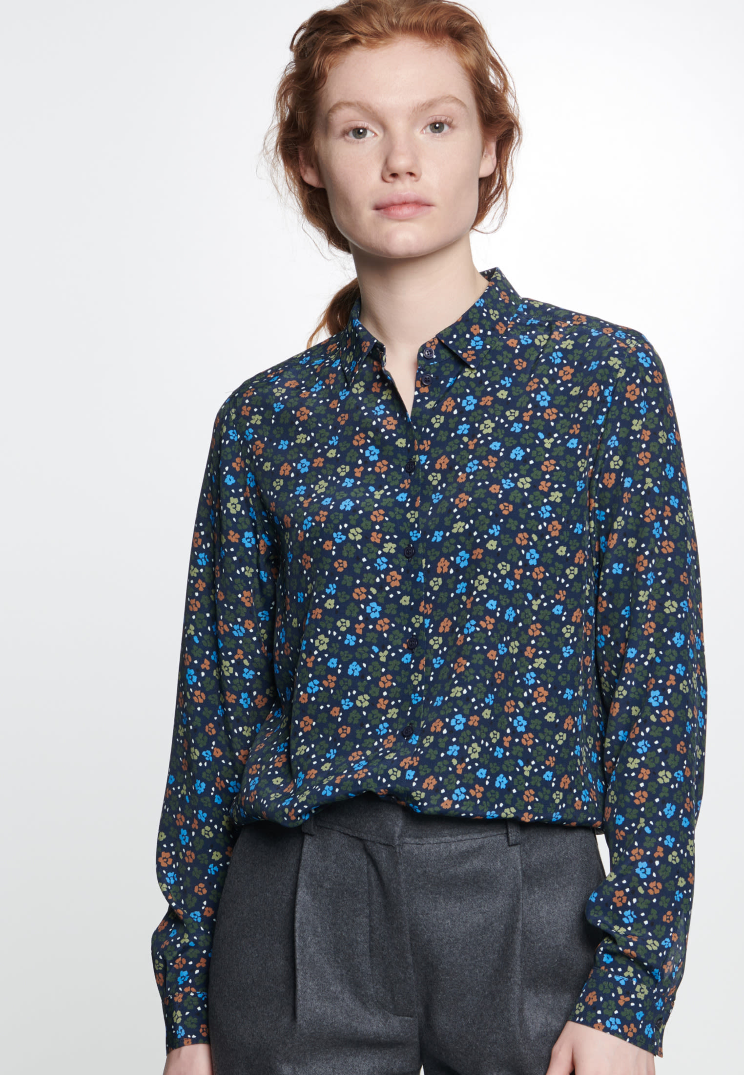 Chiffon Shirt Blouse made of 100% Viscose in Dark blue |  Seidensticker Onlineshop
