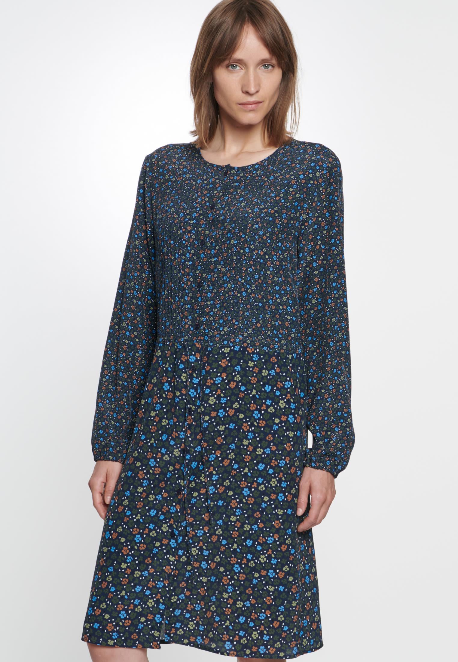 Chiffon Midi Kleid aus 100% Viskose in Dunkelblau |  Seidensticker Onlineshop
