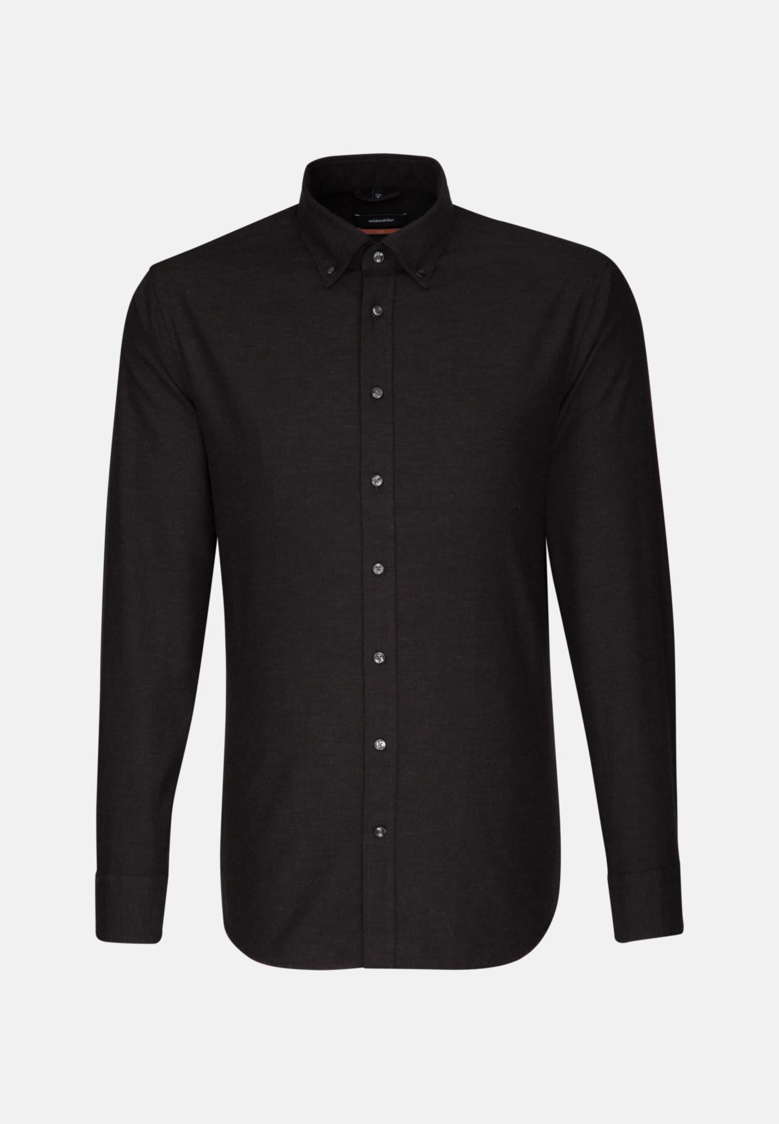 Easy-iron Twill Business Shirt in Slim with Button-Down-Collar in schwarz    Seidensticker Onlineshop