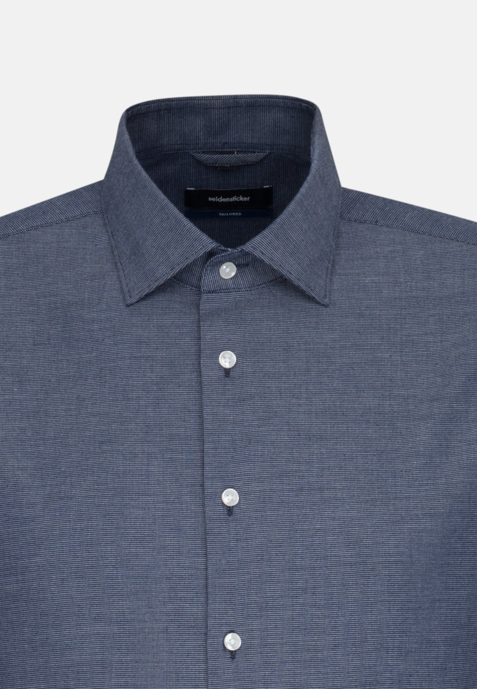 Easy-iron Structure Business Shirt in Tailored with Kent-Collar in Dark blue |  Seidensticker Onlineshop