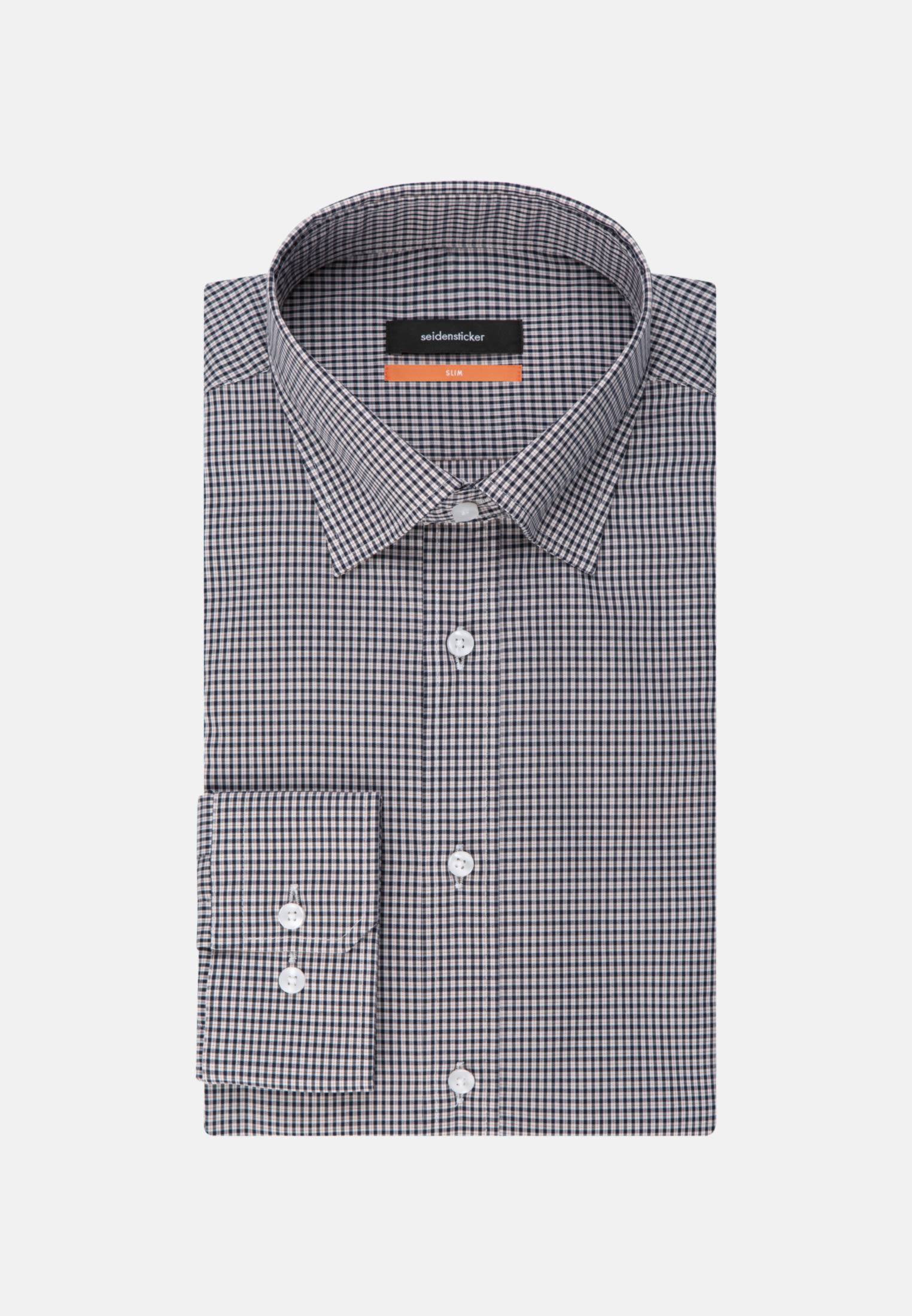 Bügelfreies Popeline Business Hemd in Slim mit Covered-Button-Down-Kragen in Orange |  Seidensticker Onlineshop