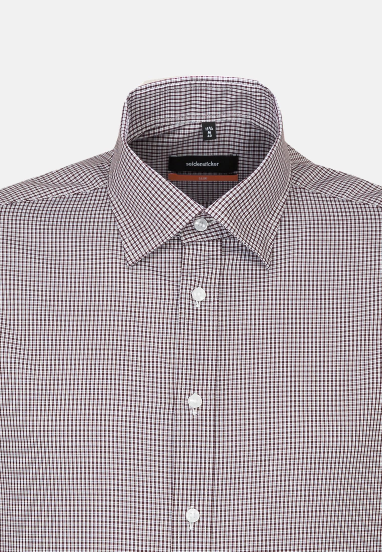 Bügelfreies Popeline Business Hemd in Slim mit Covered-Button-Down-Kragen in Rot |  Seidensticker Onlineshop