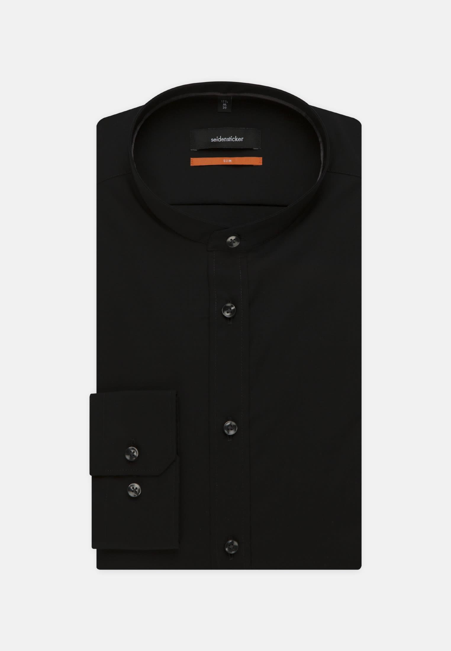 Bügelfreies Popeline Business Hemd in Slim mit Stehkragen in Schwarz |  Seidensticker Onlineshop