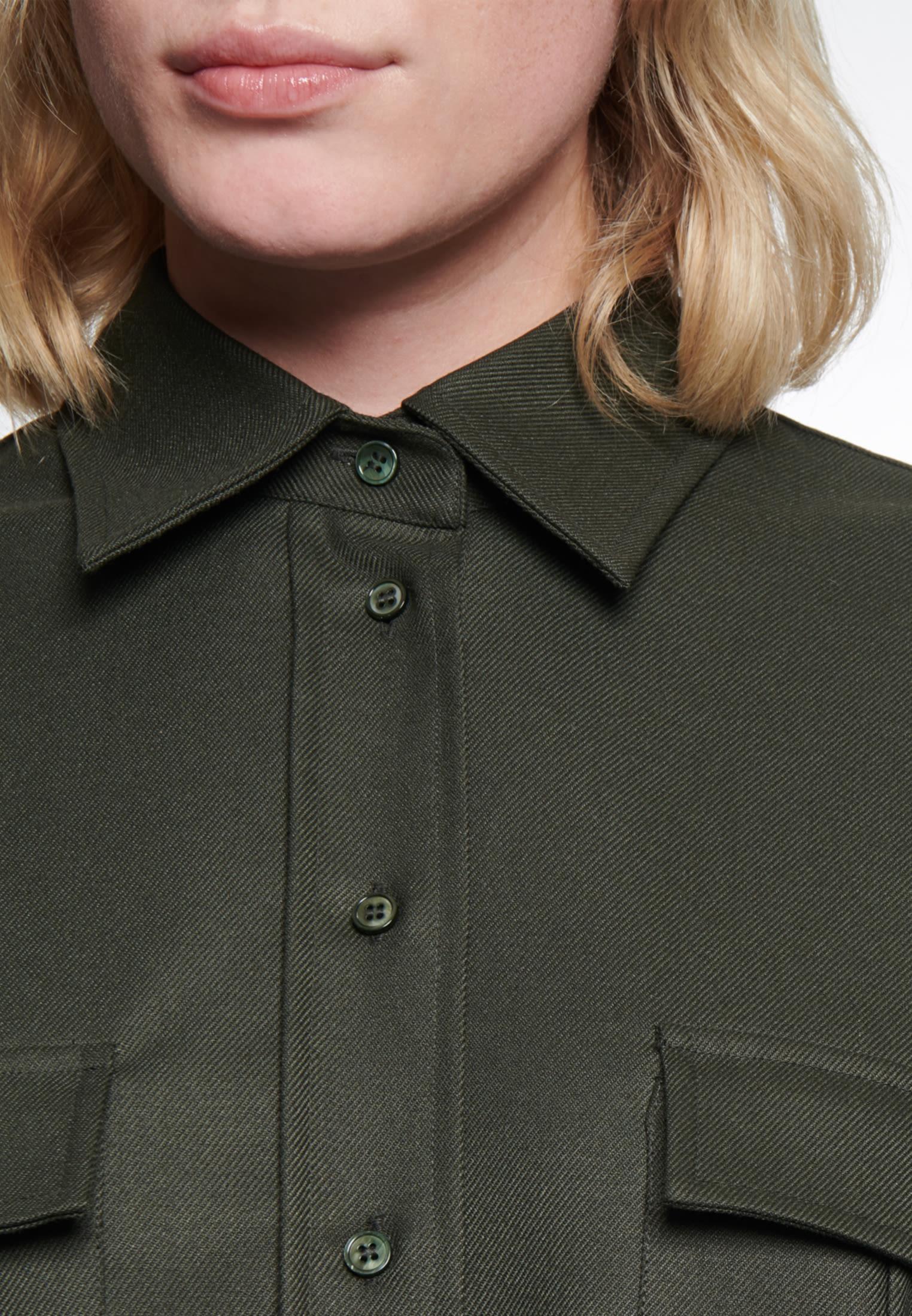 Twill Hemdbluse aus Viskosemischung in Grün |  Seidensticker Onlineshop
