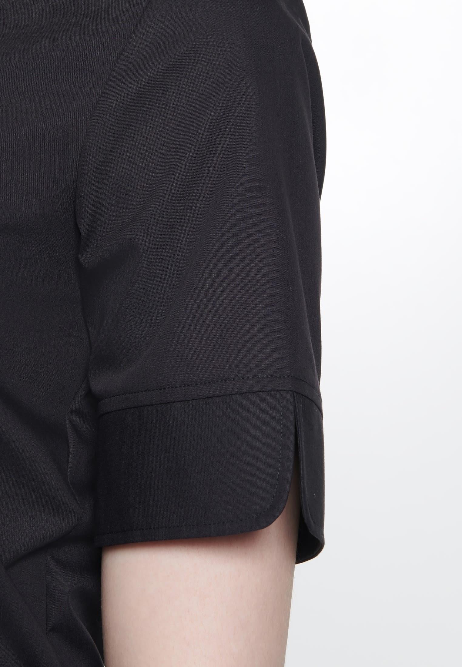 Non-iron Short arm Fil a fil Shirt Blouse made of 100% Cotton in Black |  Seidensticker Onlineshop