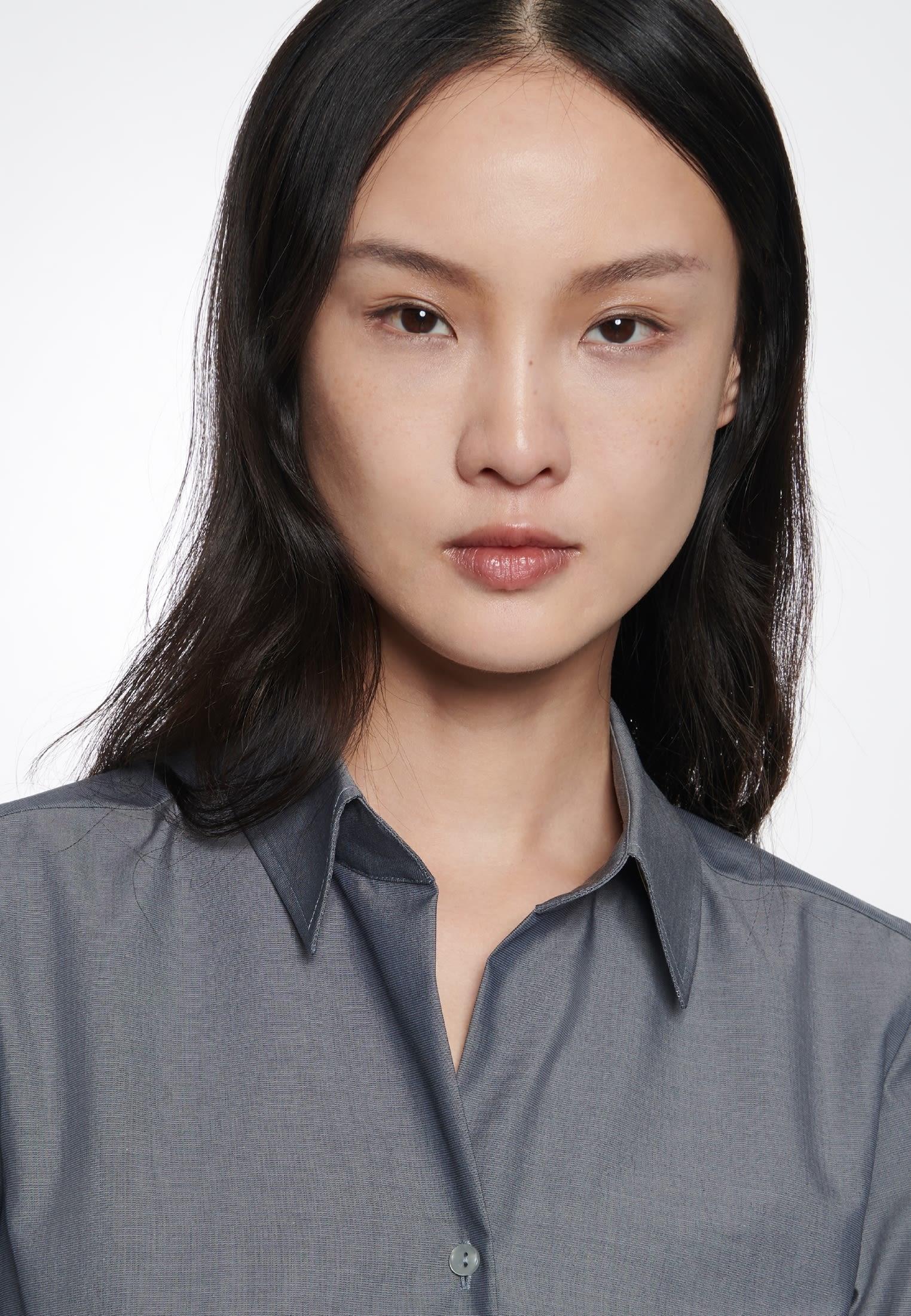Bügelfreie Kurzarm Fil a fil Hemdbluse aus 100% Baumwolle in Grau |  Seidensticker Onlineshop