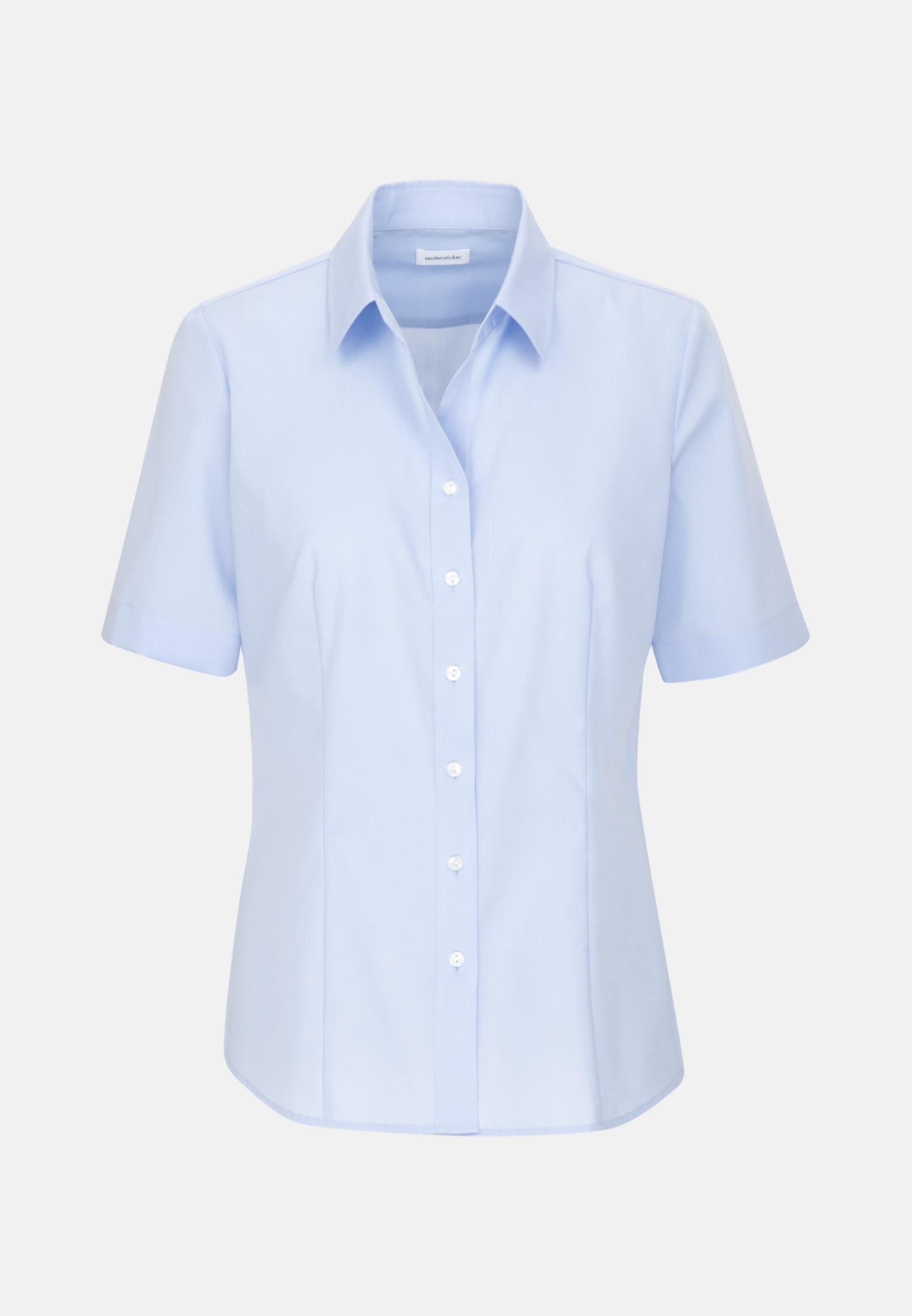 Bügelfreie Kurzarm Fil a fil Hemdbluse aus 100% Baumwolle in Hellblau    Seidensticker Onlineshop