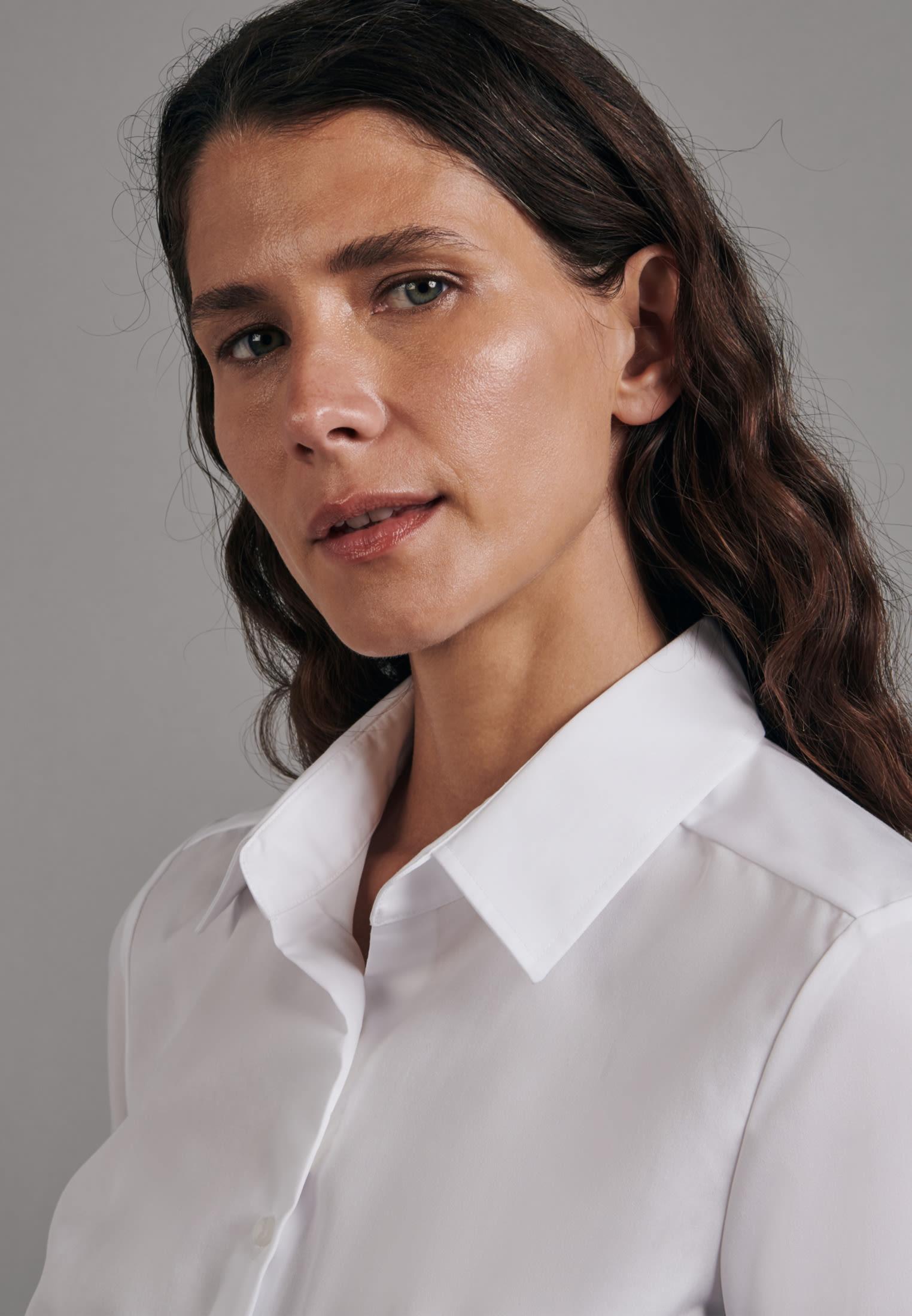 Non-iron Short sleeve Fil a fil Shirt Blouse made of 100% Cotton in White |  Seidensticker Onlineshop