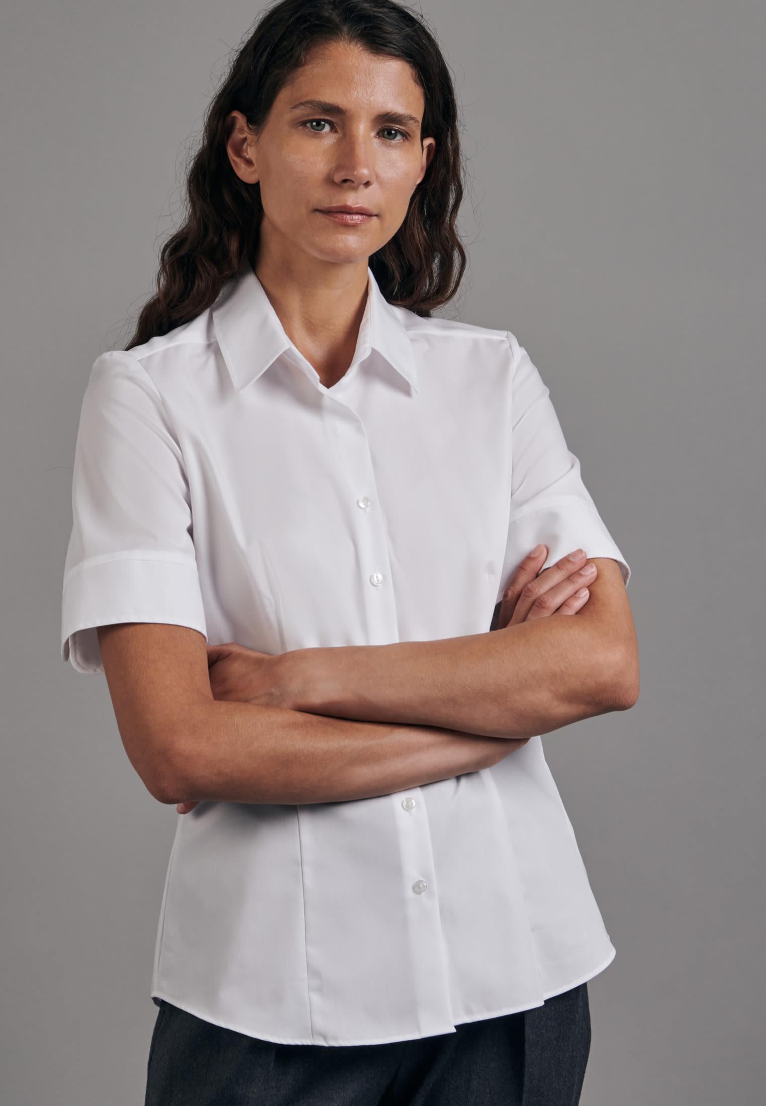 Bügelfreie Kurzarm Fil a fil Hemdbluse aus 100% Baumwolle in Weiß |  Seidensticker Onlineshop