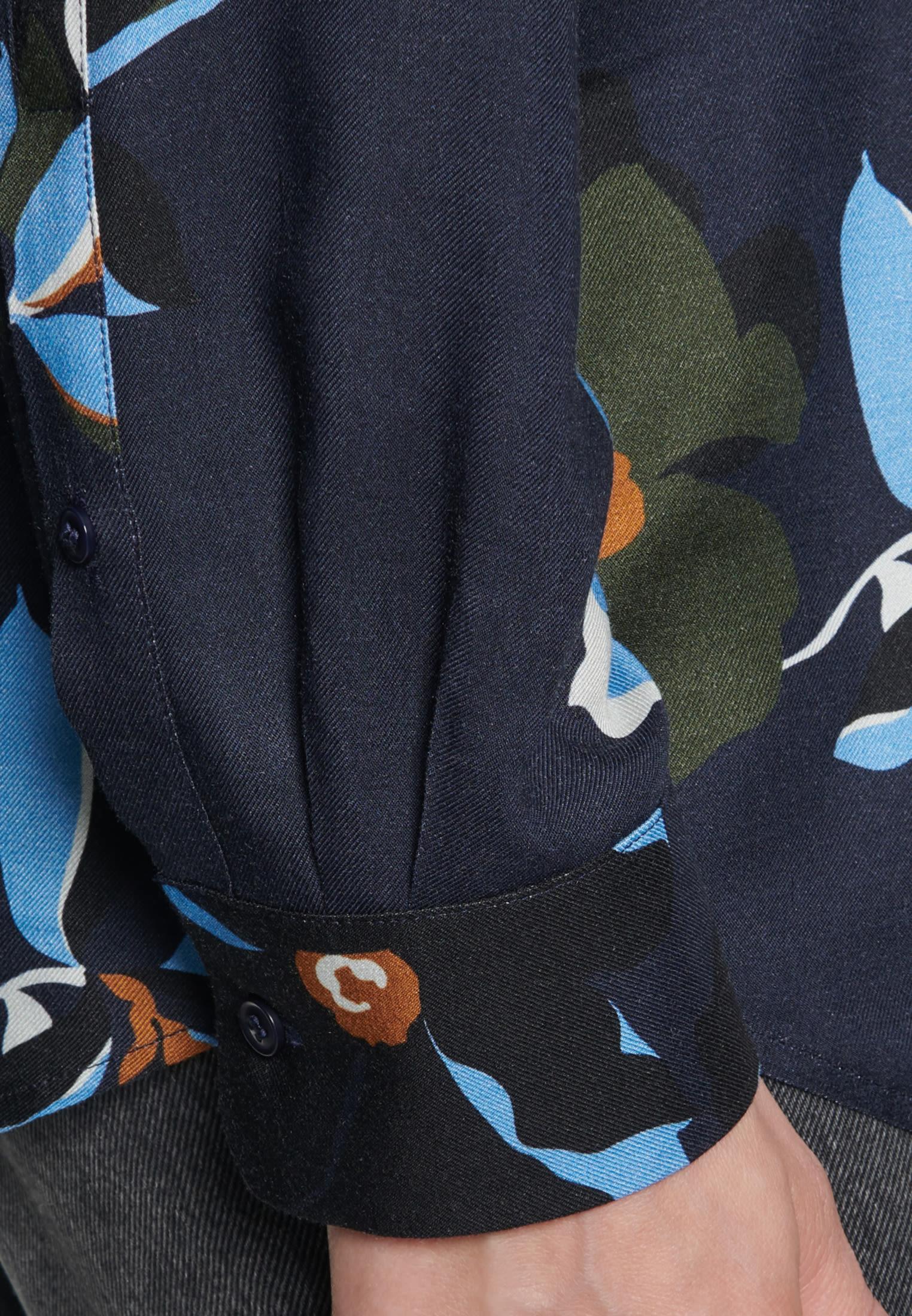 Twill Hemdbluse aus 100% Viskose in Dunkelblau |  Seidensticker Onlineshop
