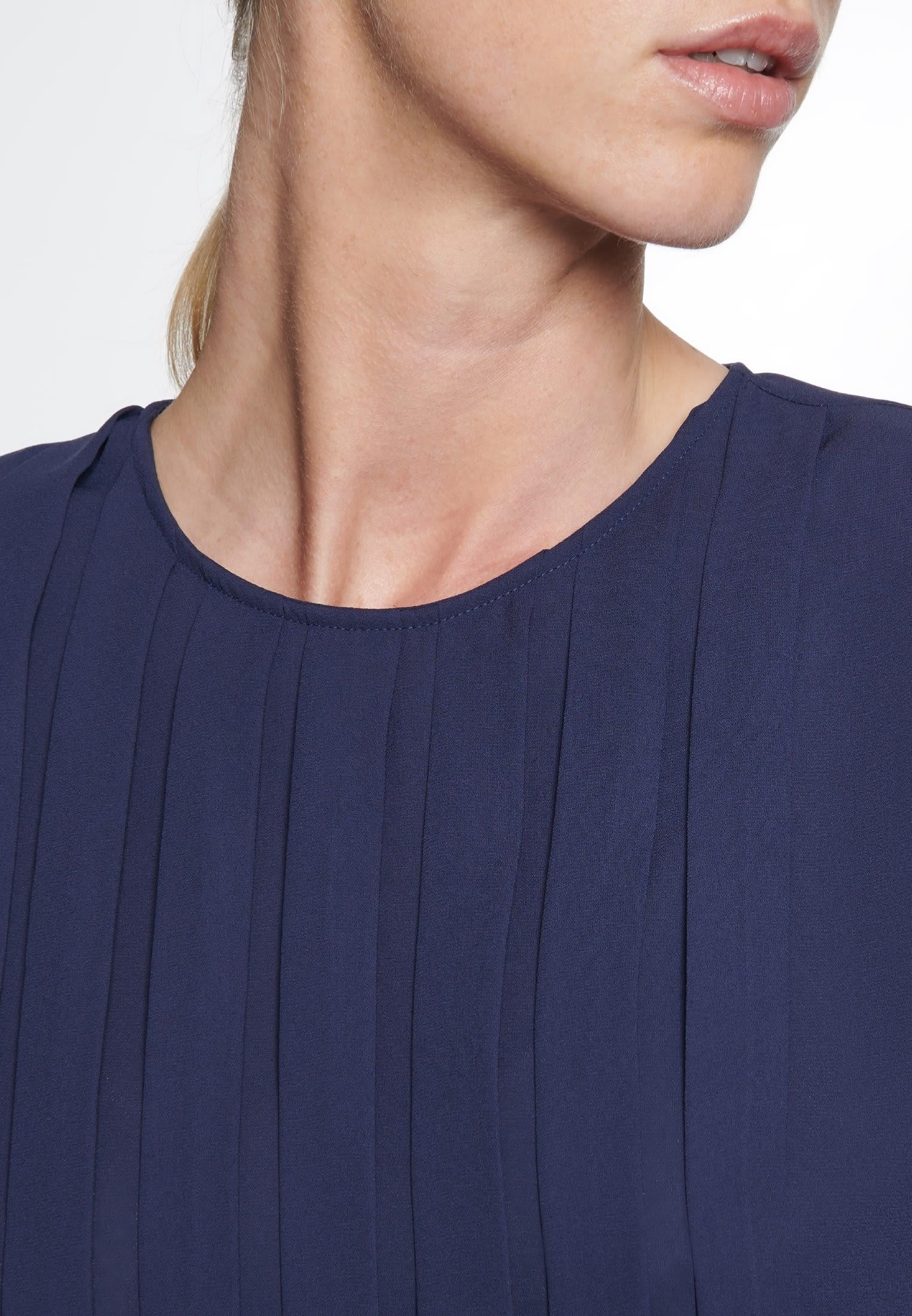 Krepp Shirtbluse aus 100% Polyester in Dunkelblau |  Seidensticker Onlineshop