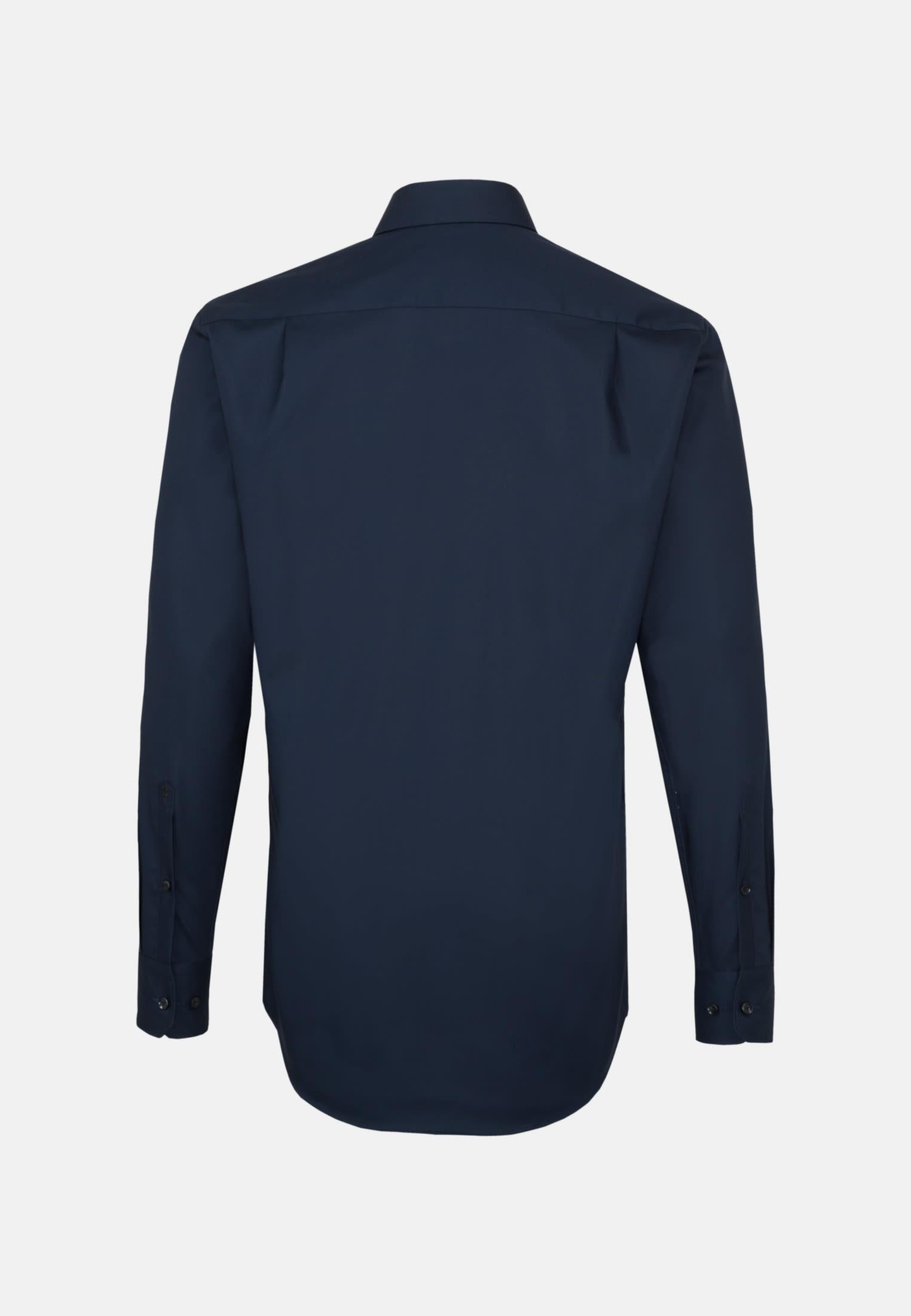 Non-iron Poplin Business Shirt in Modern with Kent-Collar in dunkelblau |  Seidensticker Onlineshop