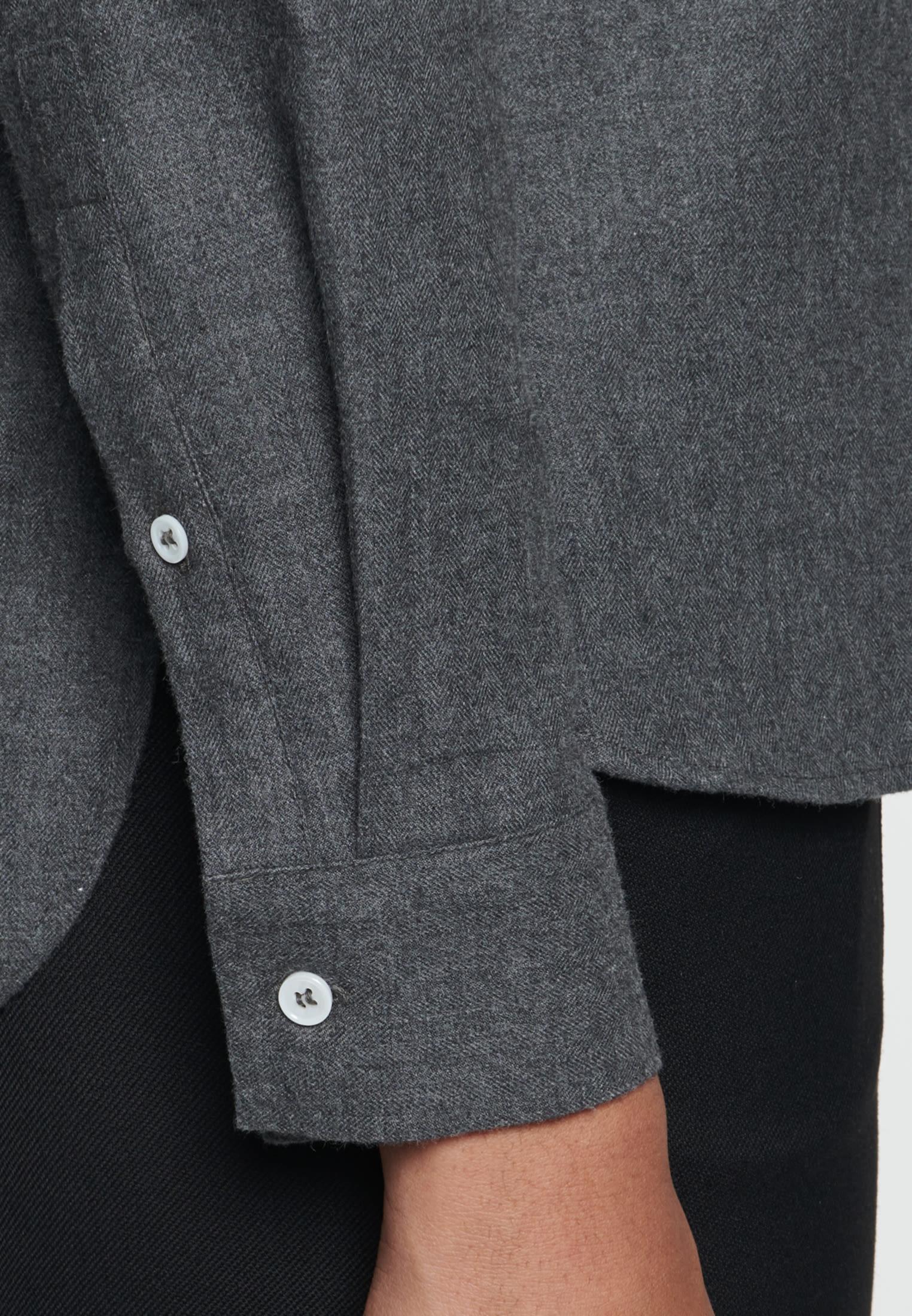 Flanell Stehkragenbluse aus 100% Baumwolle in Grau |  Seidensticker Onlineshop