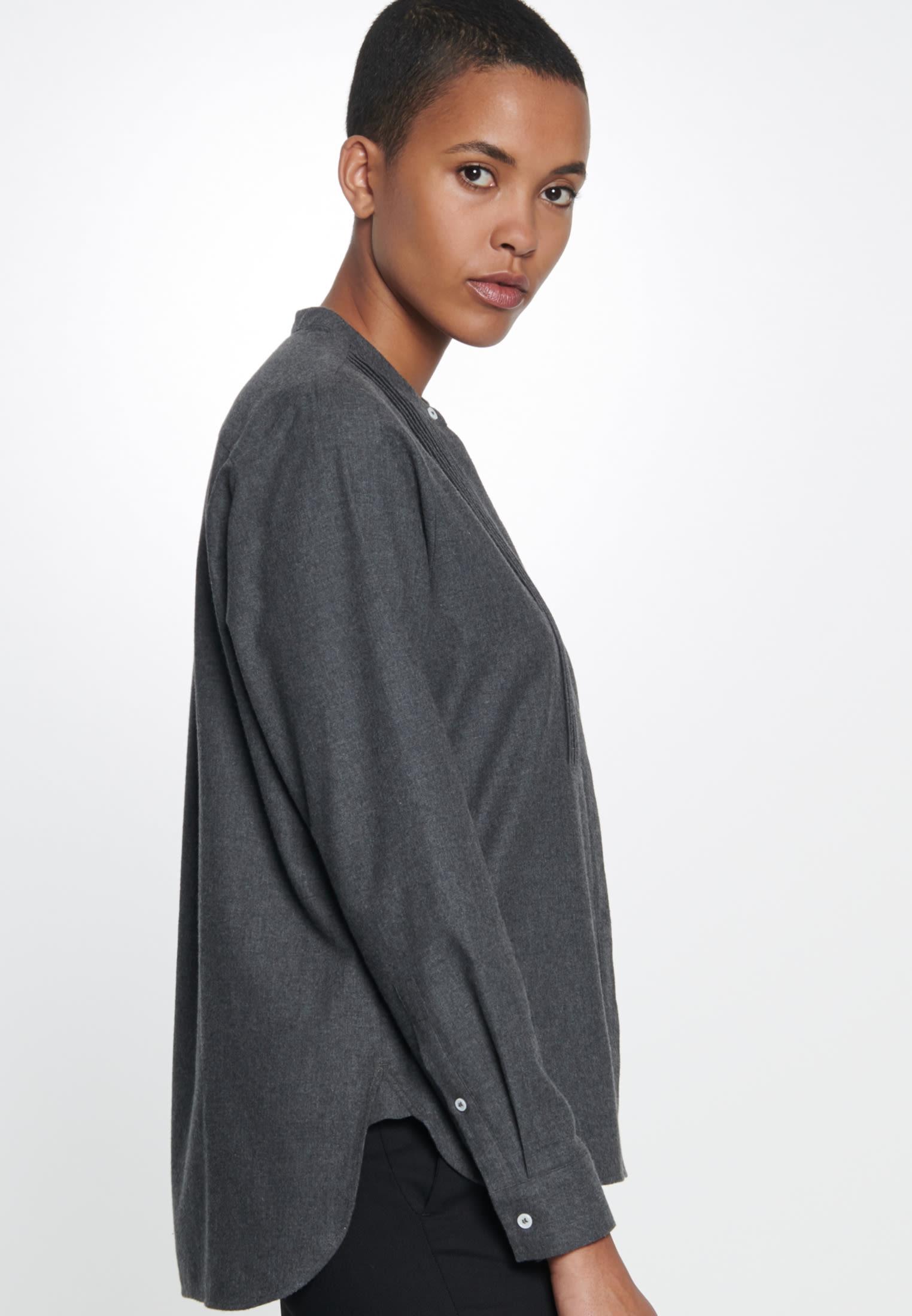 Flannel Stand-Up Blouse made of 100% Cotton in dunkelgrau |  Seidensticker Onlineshop