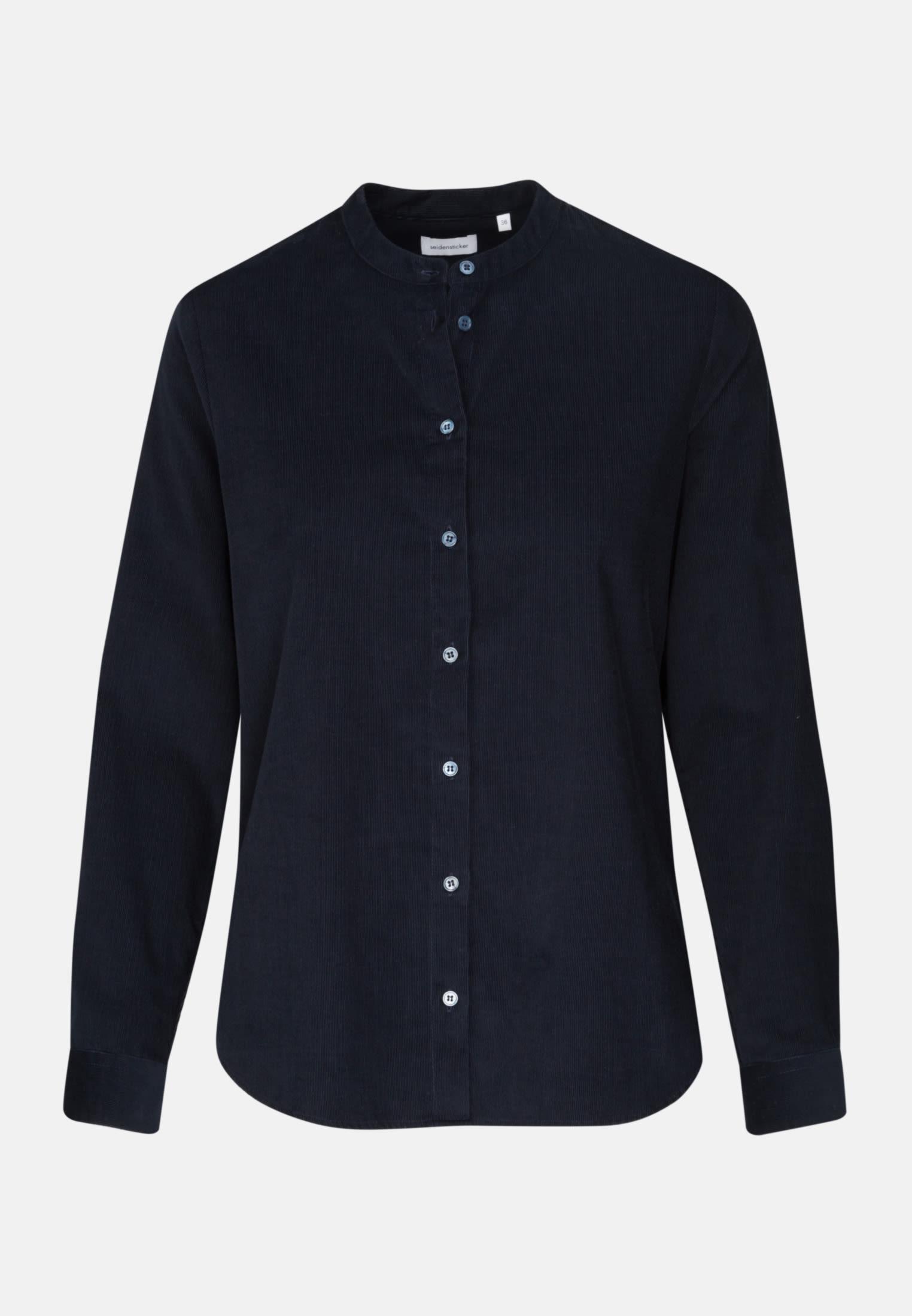 Corduroy Stand-Up Blouse made of 100% Cotton in Dark Sapphire    Seidensticker Onlineshop