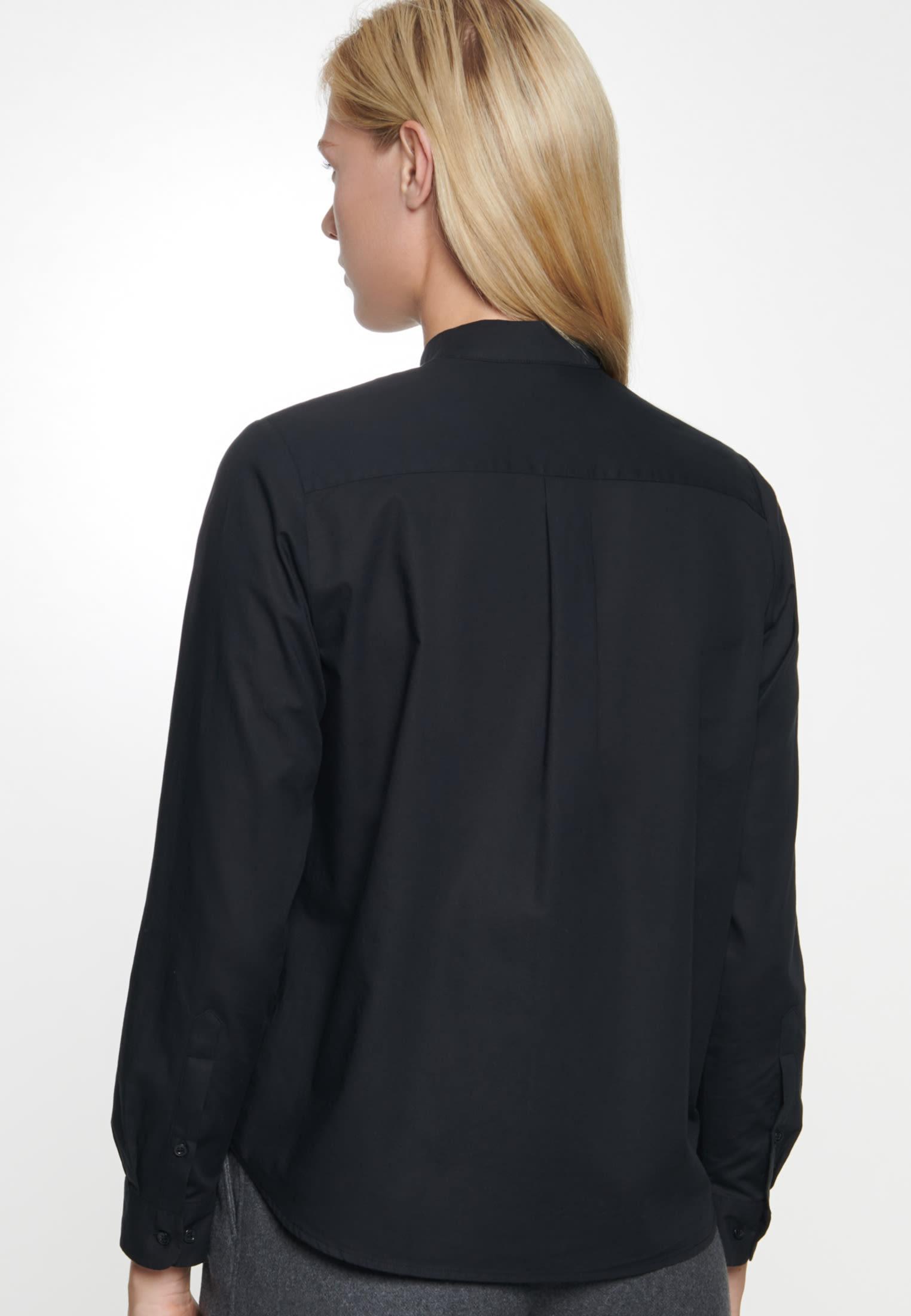 Voile Schluppenbluse aus 100% Baumwolle in Schwarz    Seidensticker Onlineshop