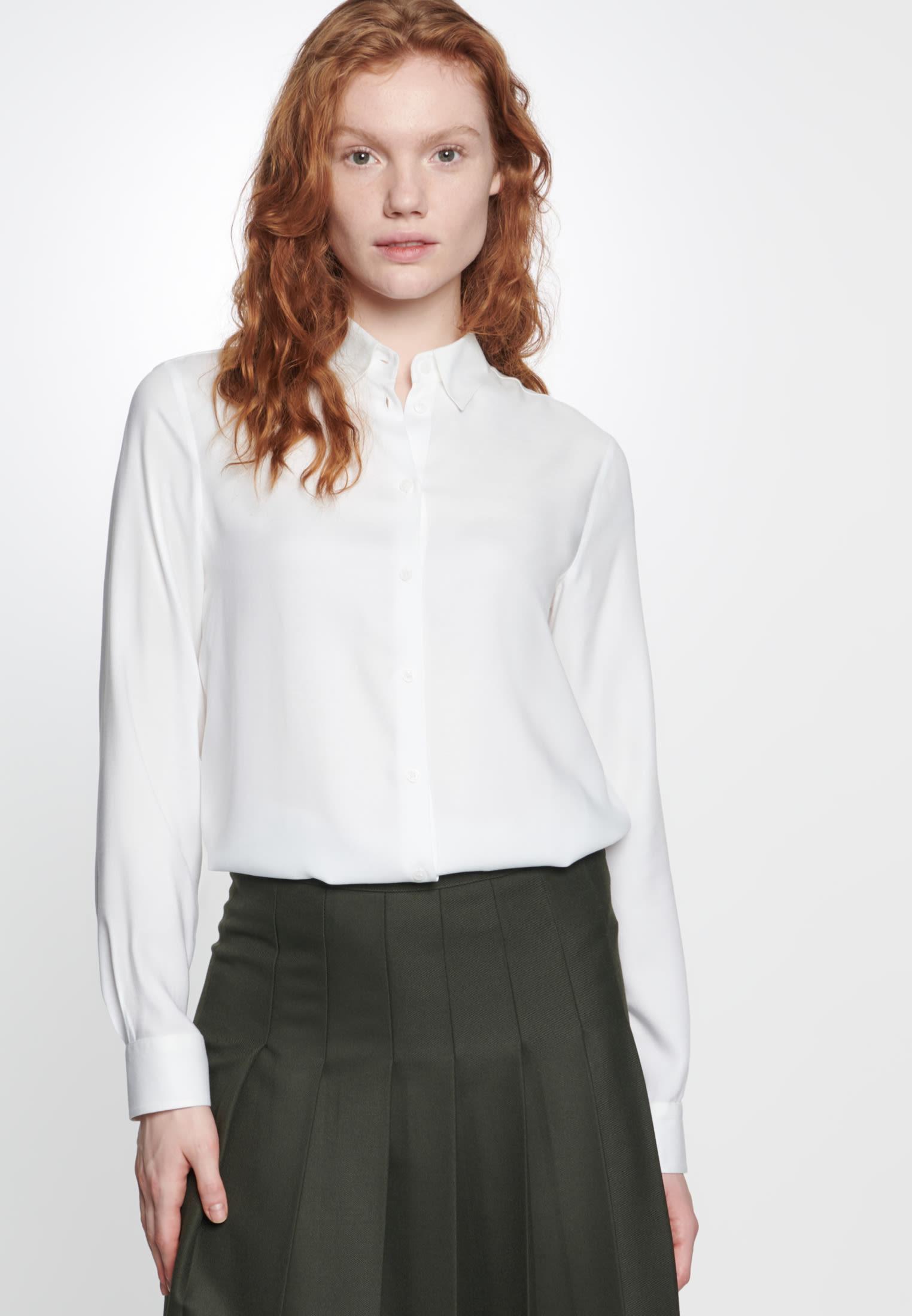 Twill Hemdbluse aus 100% Viskose in Weiß |  Seidensticker Onlineshop