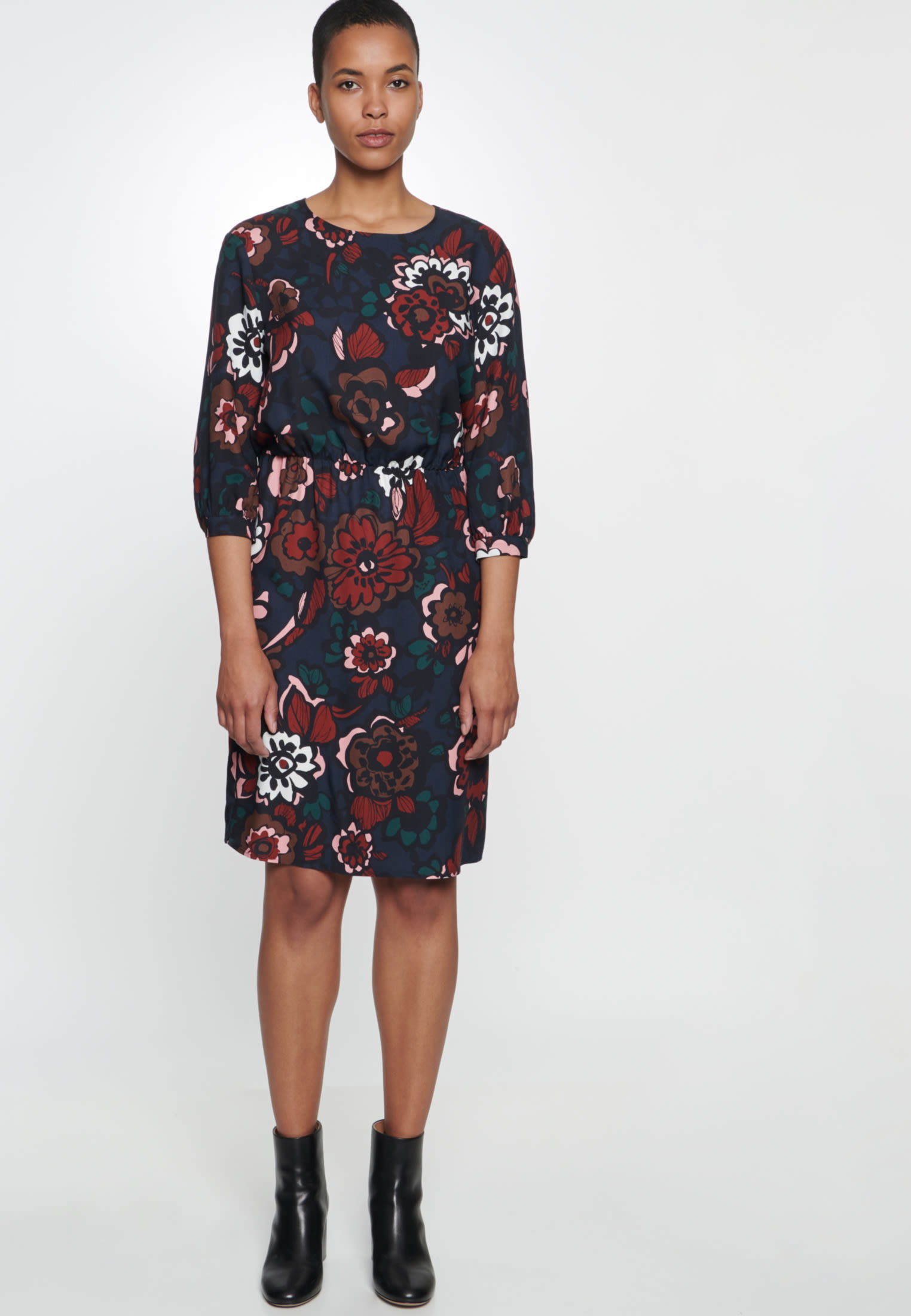 Twill Midi Dress made of 100% Viscose in Dark blue |  Seidensticker Onlineshop