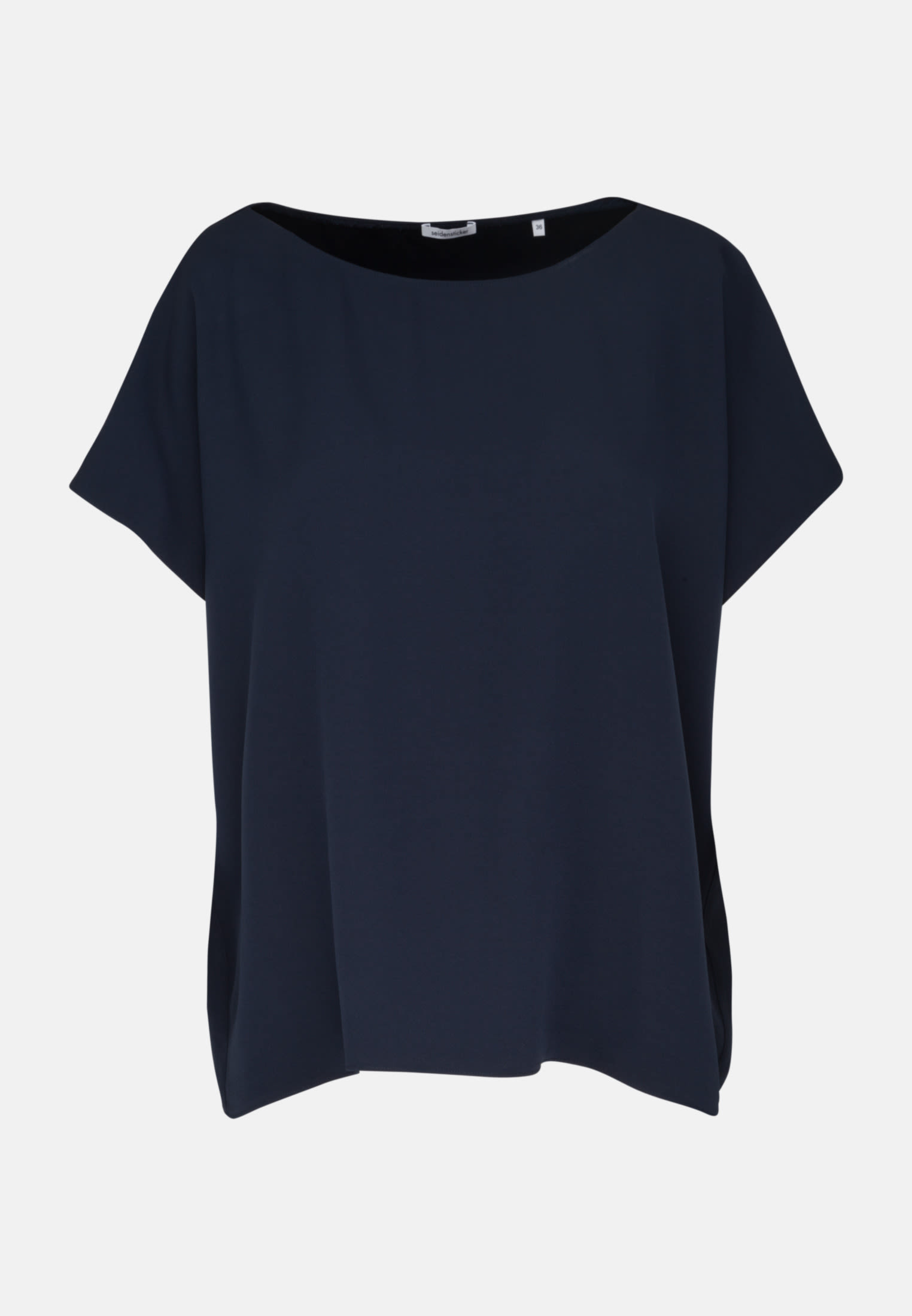 Kurzarm Krepp Shirtbluse aus 86% Rayon 14% Polyethylen in Dunkelblau    Seidensticker Onlineshop