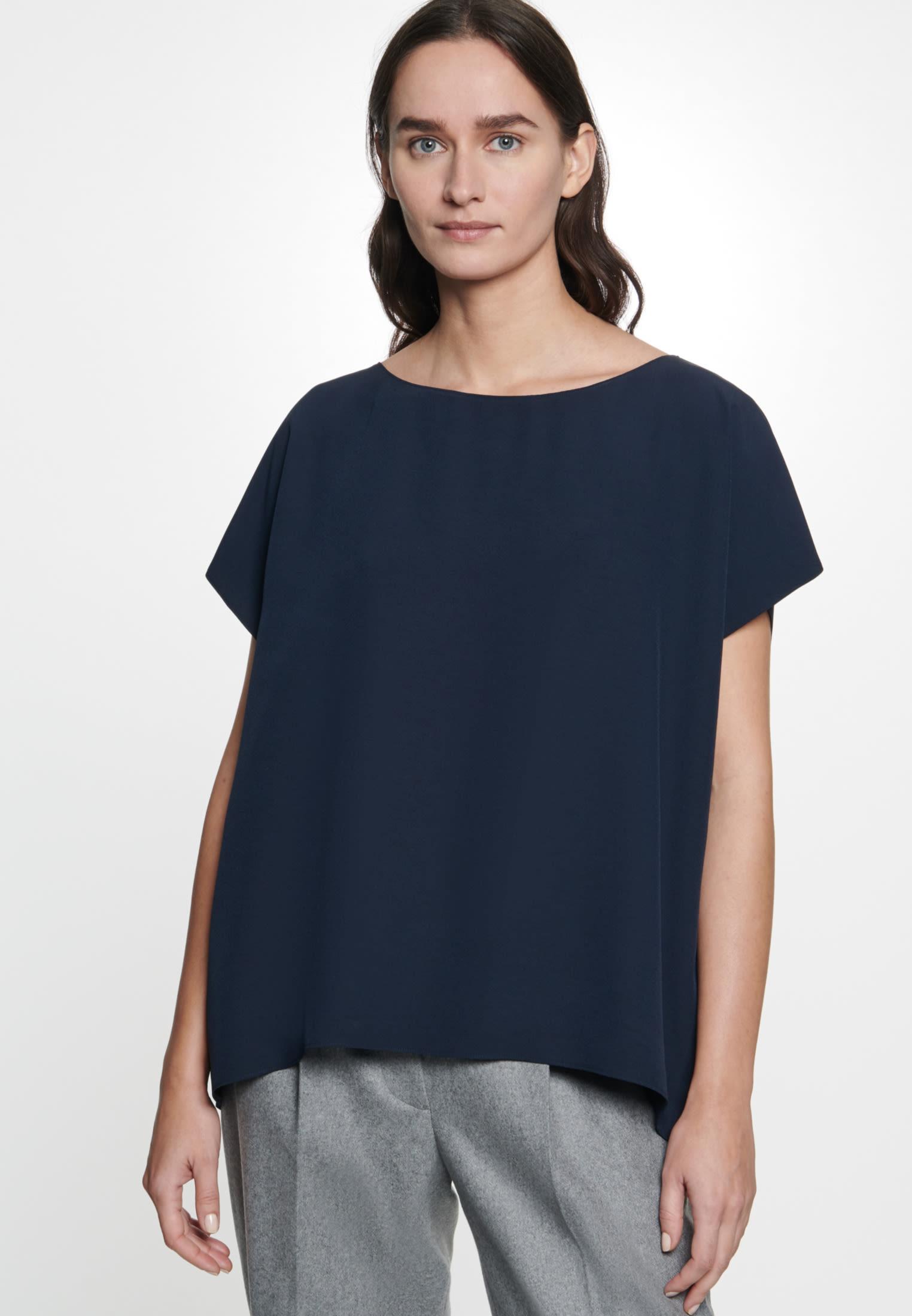 Kurzarm Krepp Shirtbluse aus Rayonmischung in Dunkelblau |  Seidensticker Onlineshop