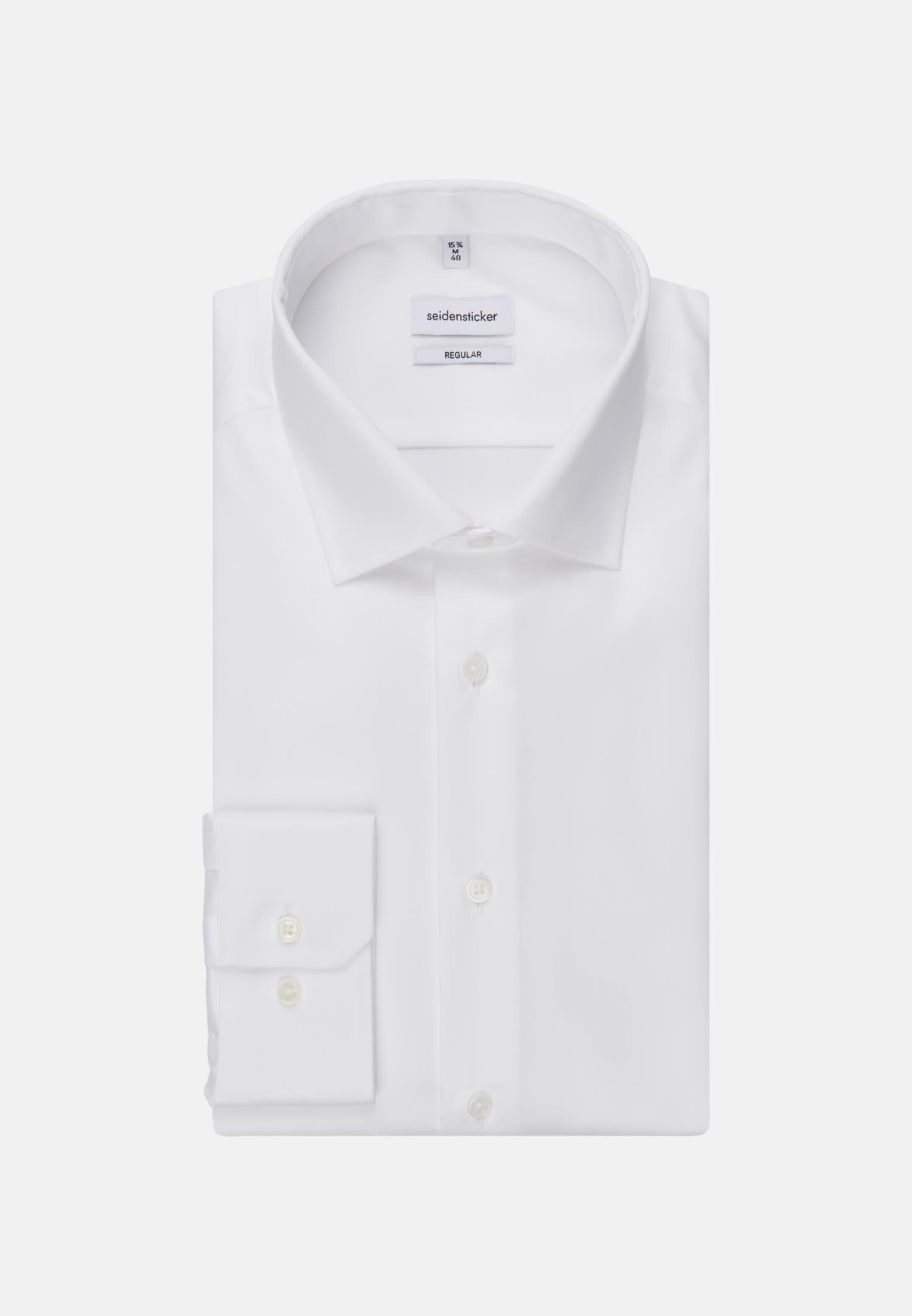 Bügelleichtes Twill Business Hemd in Modern mit Kentkragen in weiß    Seidensticker Onlineshop