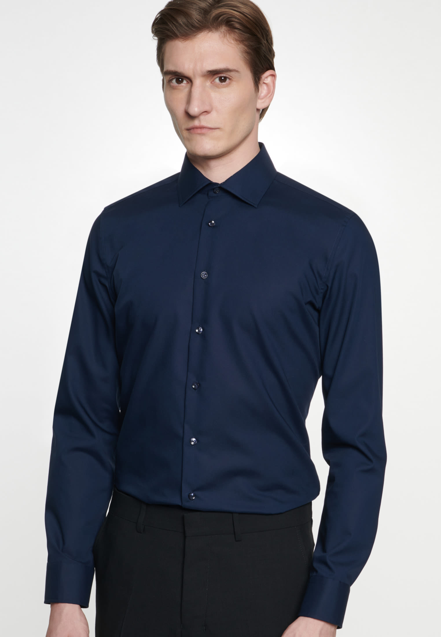 Non-iron Poplin Business Shirt in Slim with Kent-Collar in Dark blue    Seidensticker Onlineshop