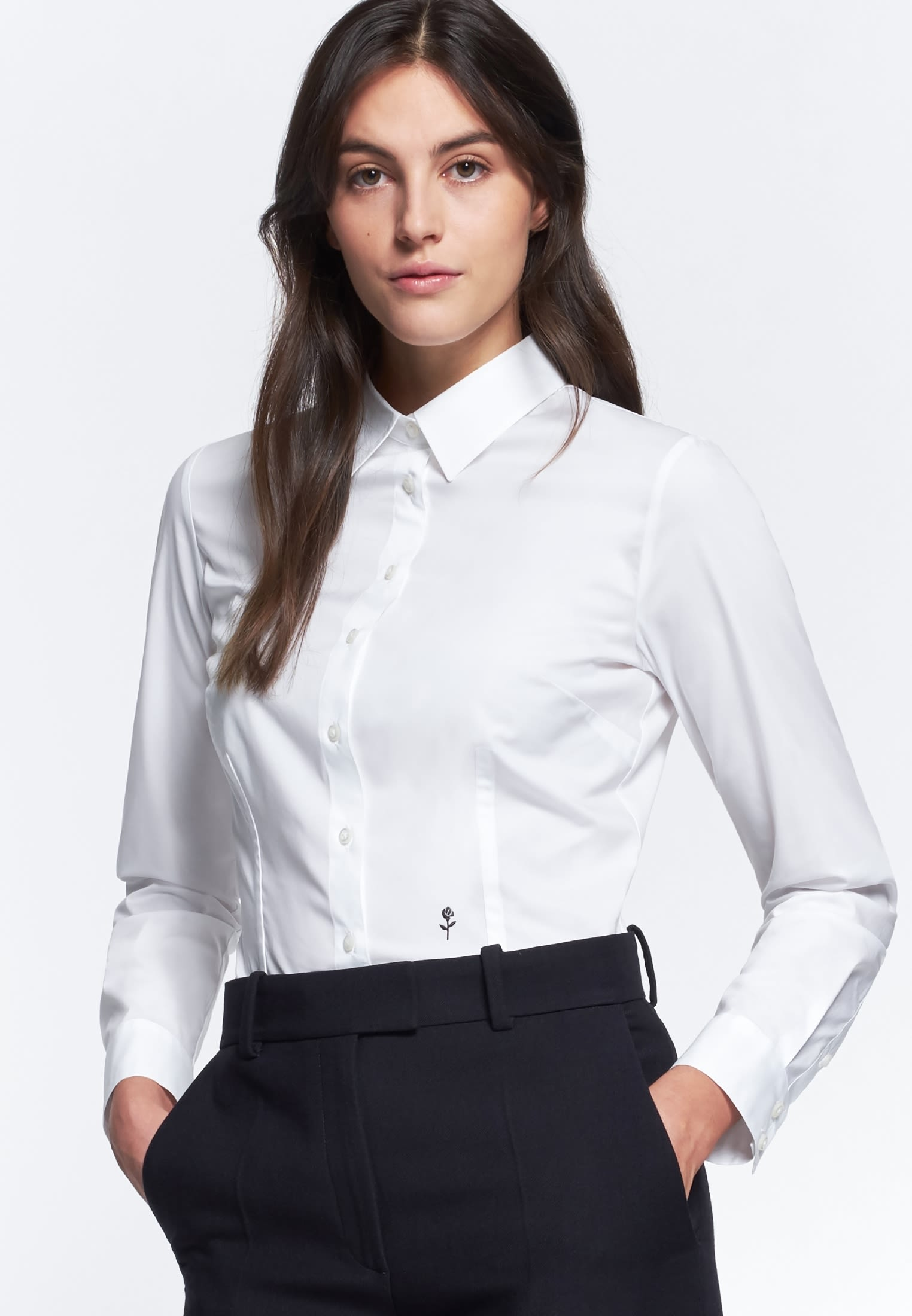 Poplin Shirt Blouse made of cotton blend in White |  Seidensticker Onlineshop