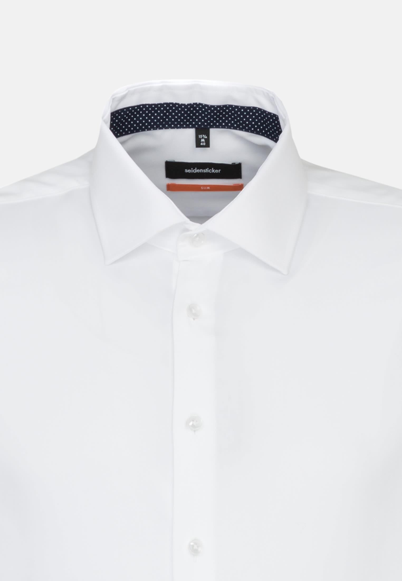 Bügelleichtes Struktur Business Hemd in Slim mit Kentkragen in Weiß |  Seidensticker Onlineshop