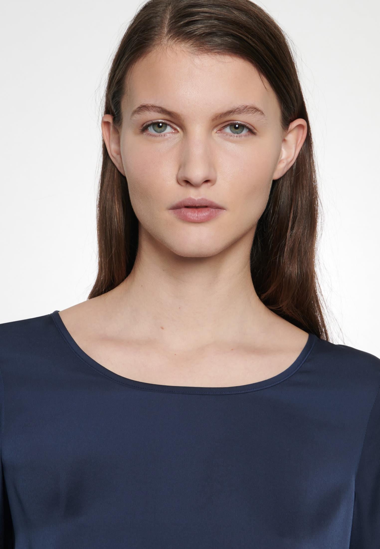 Satin Slip Over Blouse made of 100% Polyester in Medium blue |  Seidensticker Onlineshop