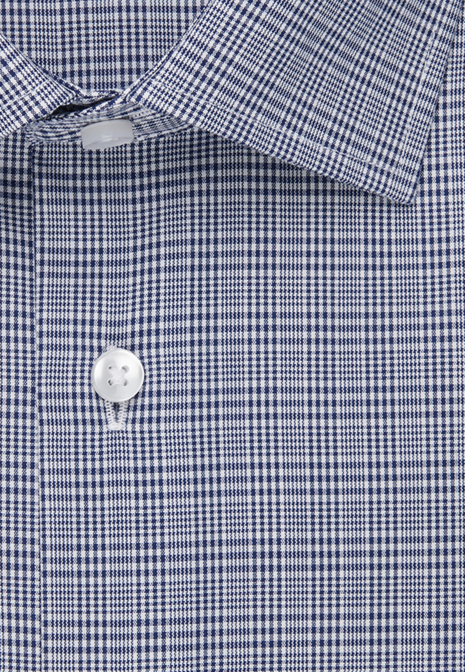Bügelfreies Glencheck Business Hemd in Shaped mit Kentkragen in Mittelblau |  Seidensticker Onlineshop