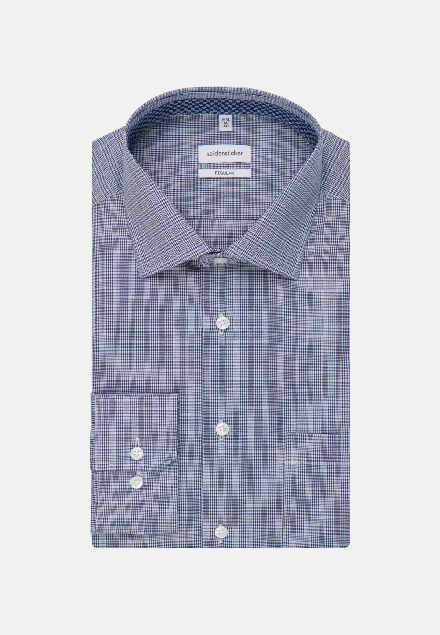 Bügelfreies Glencheck Business Hemd in Regular mit Kentkragen in Mittelblau |  Seidensticker Onlineshop