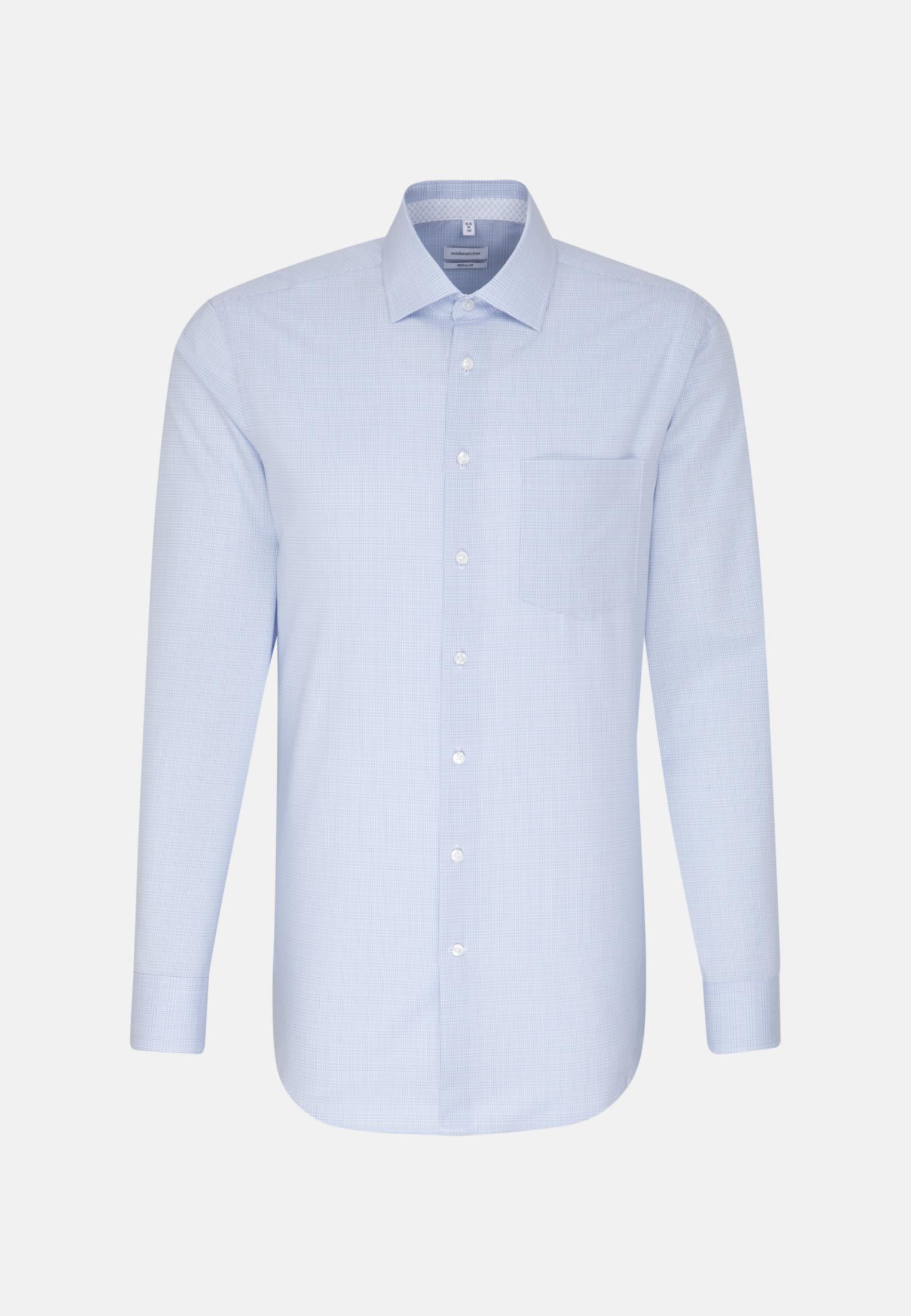Bügelfreies Glencheck Business Hemd in Regular mit Kentkragen in Hellblau |  Seidensticker Onlineshop