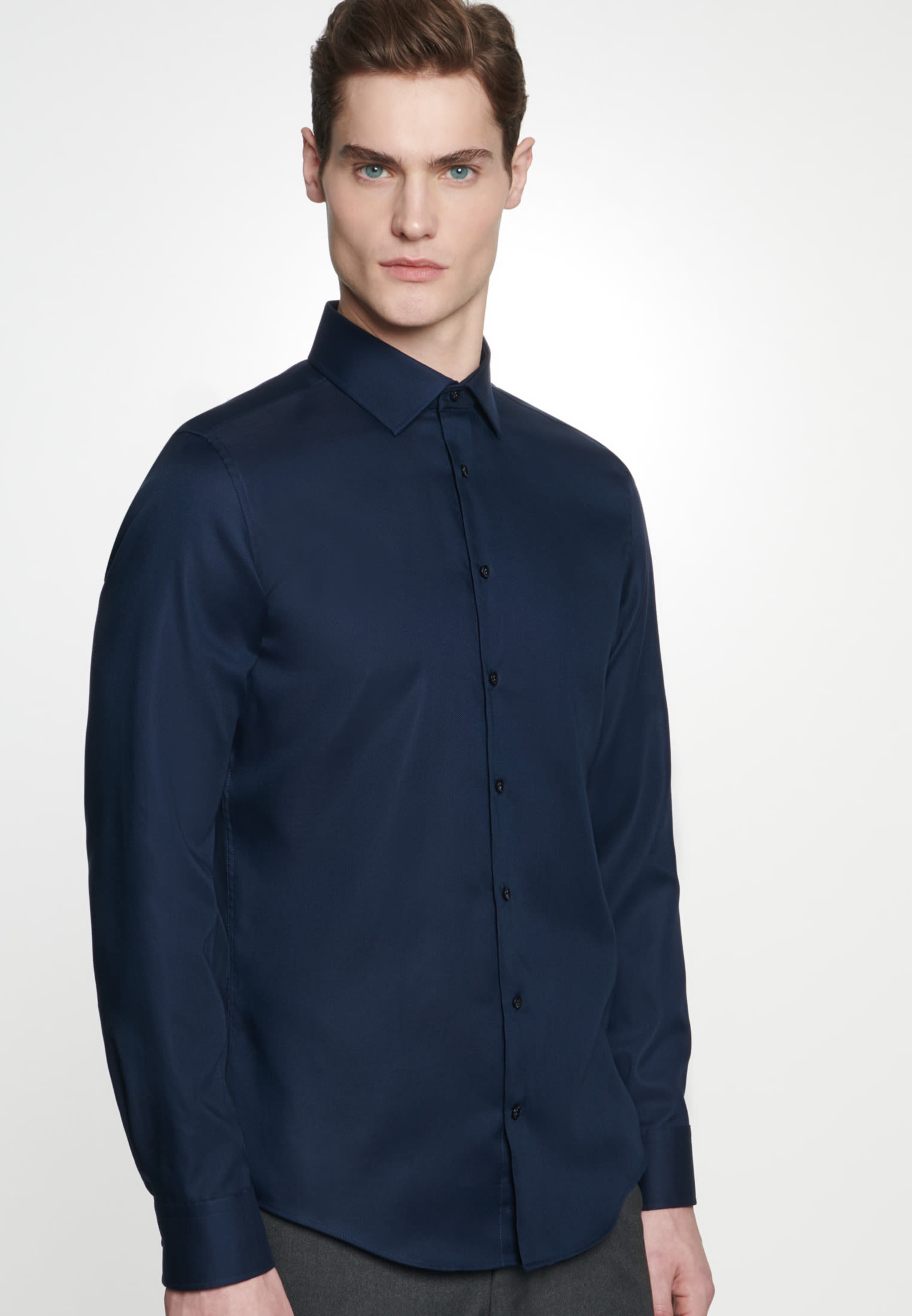 Non-iron Structure Business Shirt in Slim with Kent-Collar in Dark blue |  Seidensticker Onlineshop