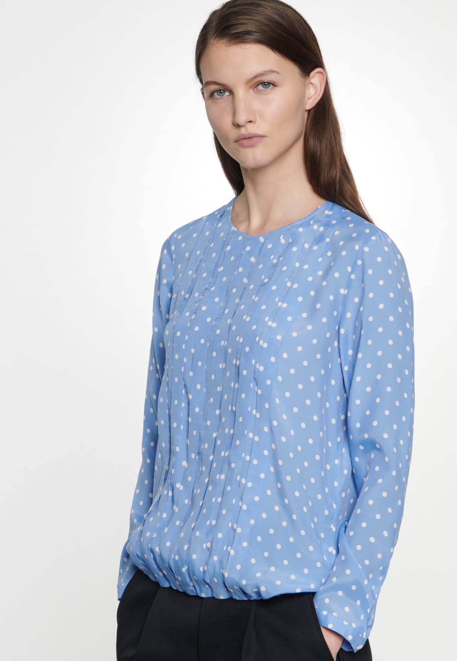 Voile Shirtbluse aus 100% Viskose in Mittelblau |  Seidensticker Onlineshop