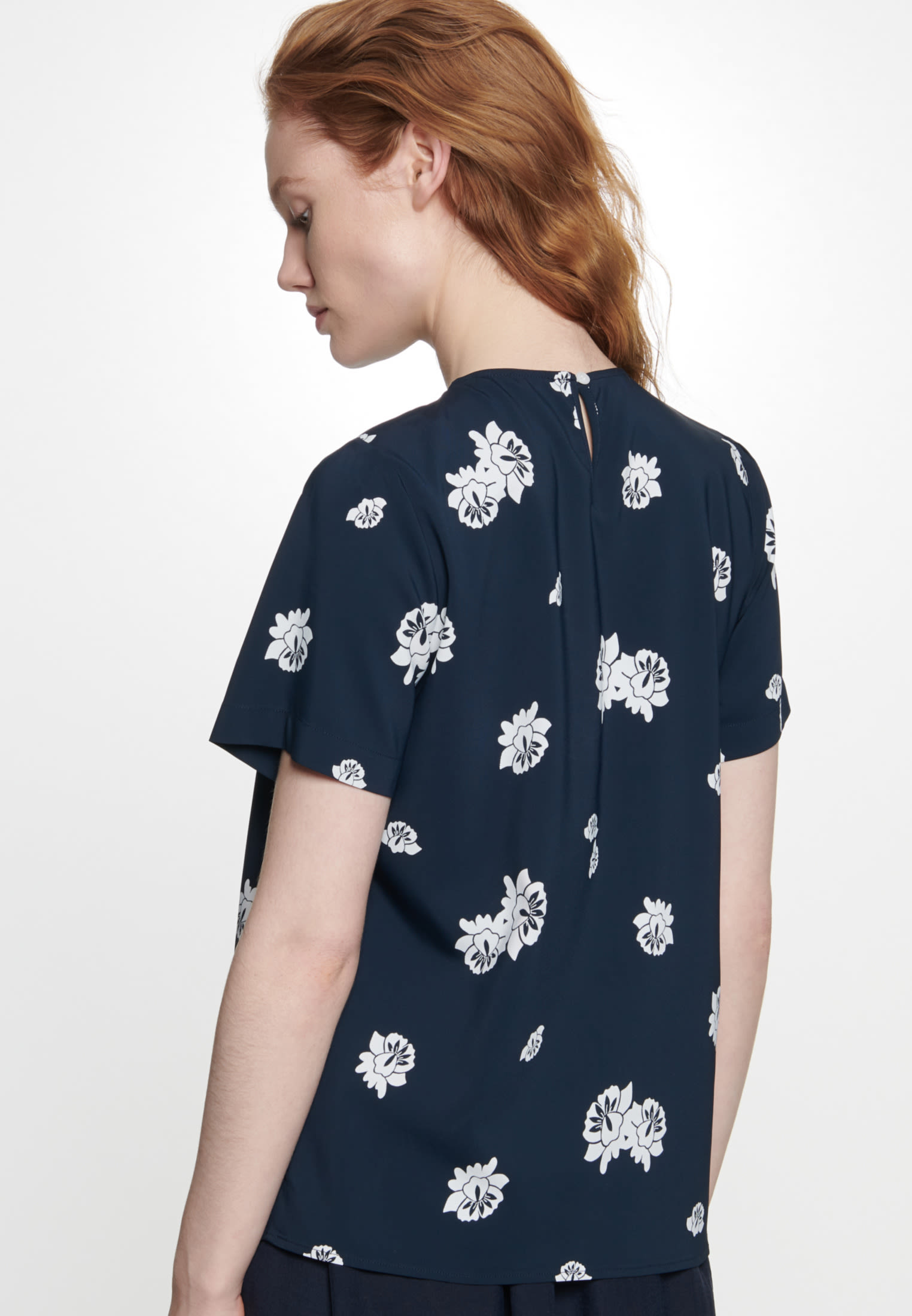 Short sleeve Crepe Shirt Blouse made of viscose blend in Dark blue |  Seidensticker Onlineshop
