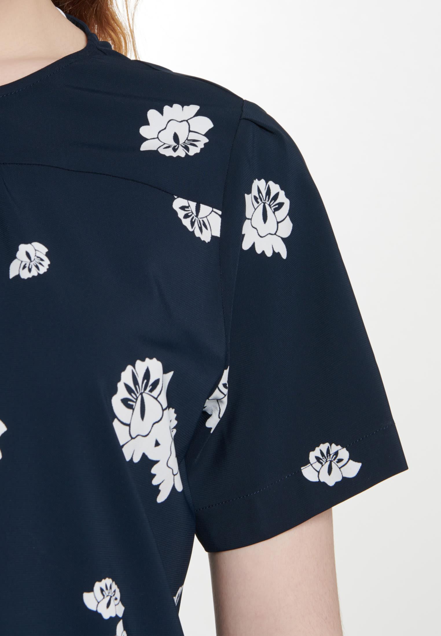 Kurzarm Krepp Shirtbluse aus Viskosemischung in Dunkelblau |  Seidensticker Onlineshop