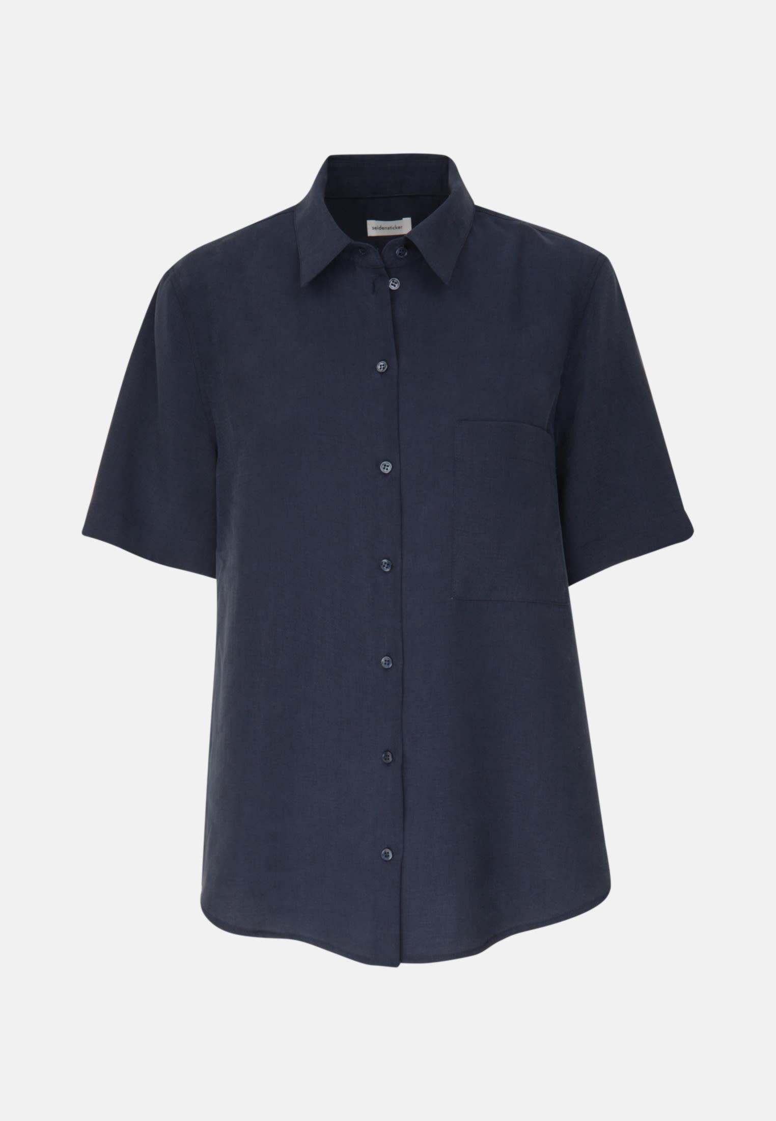 Short arm Twill Shirt Blouse made of 90% Lyocell 10% Polyethylen in Dark blue |  Seidensticker Onlineshop