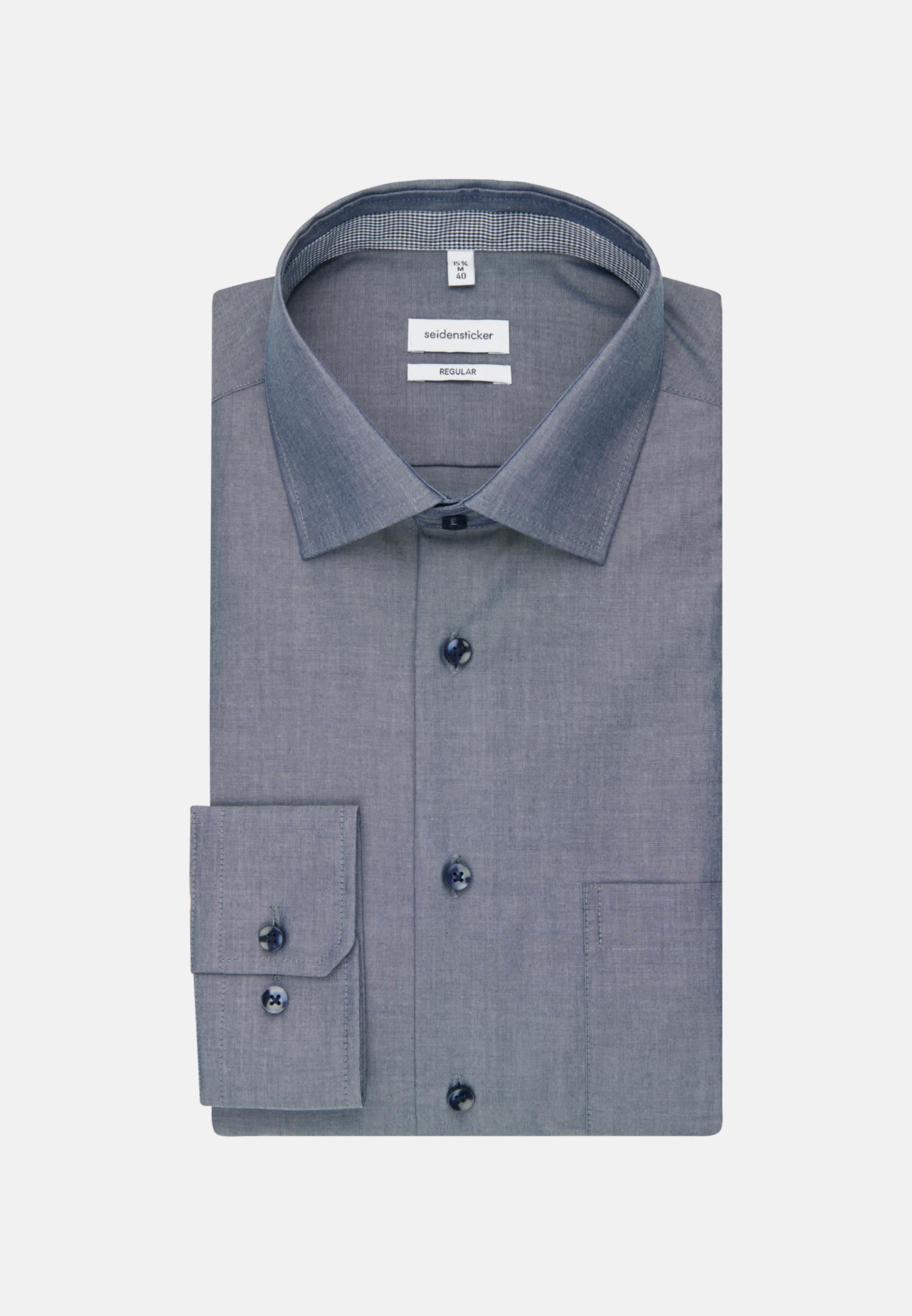 Bügelfreies Chambray Business Hemd in Regular mit Kentkragen in Dunkelblau |  Seidensticker Onlineshop