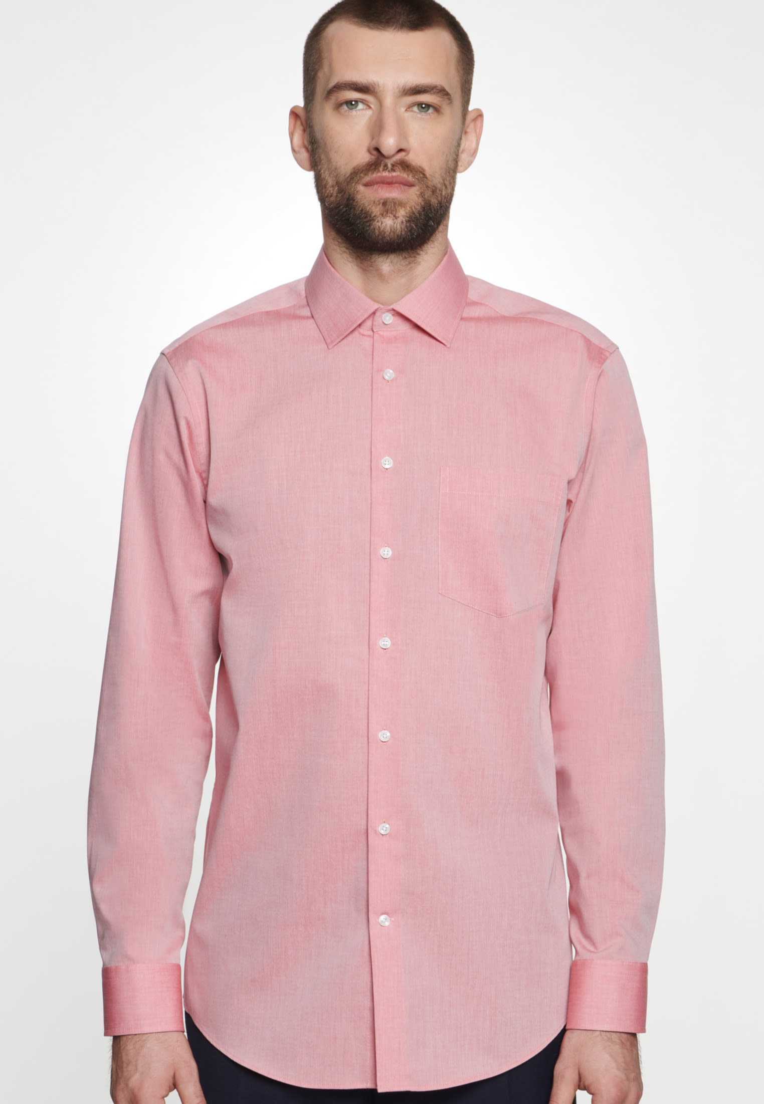 Non-iron Chambray Business Shirt in Regular with Kent-Collar in Red |  Seidensticker Onlineshop