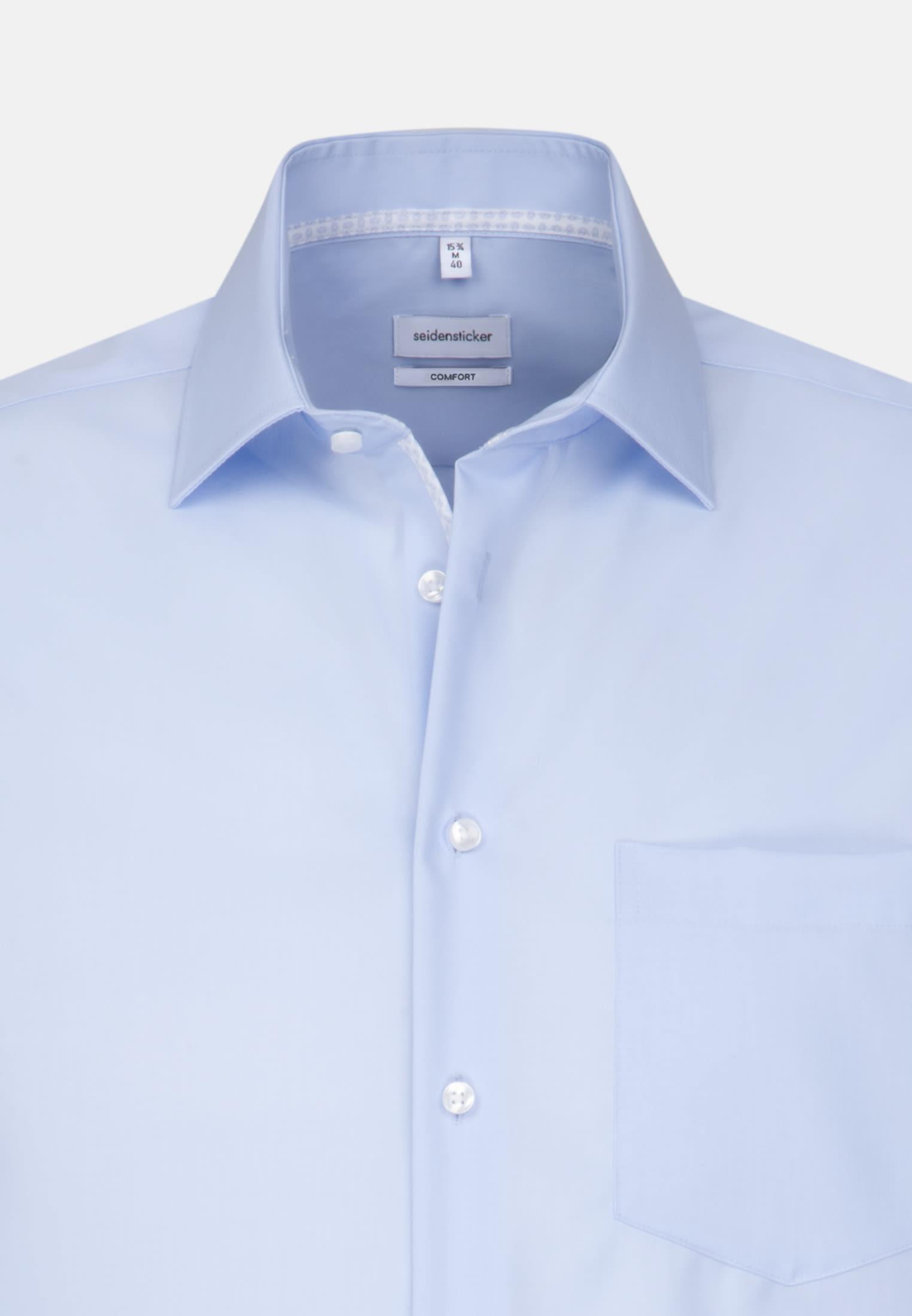Bügelfreies Popeline Business Hemd in Comfort mit Kentkragen in Mittelblau |  Seidensticker Onlineshop