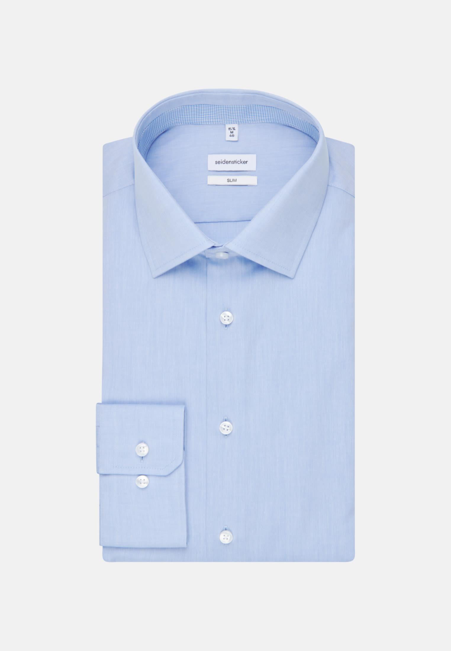 Bügelfreies Chambray Business Hemd in Slim mit Kentkragen in Hellblau |  Seidensticker Onlineshop