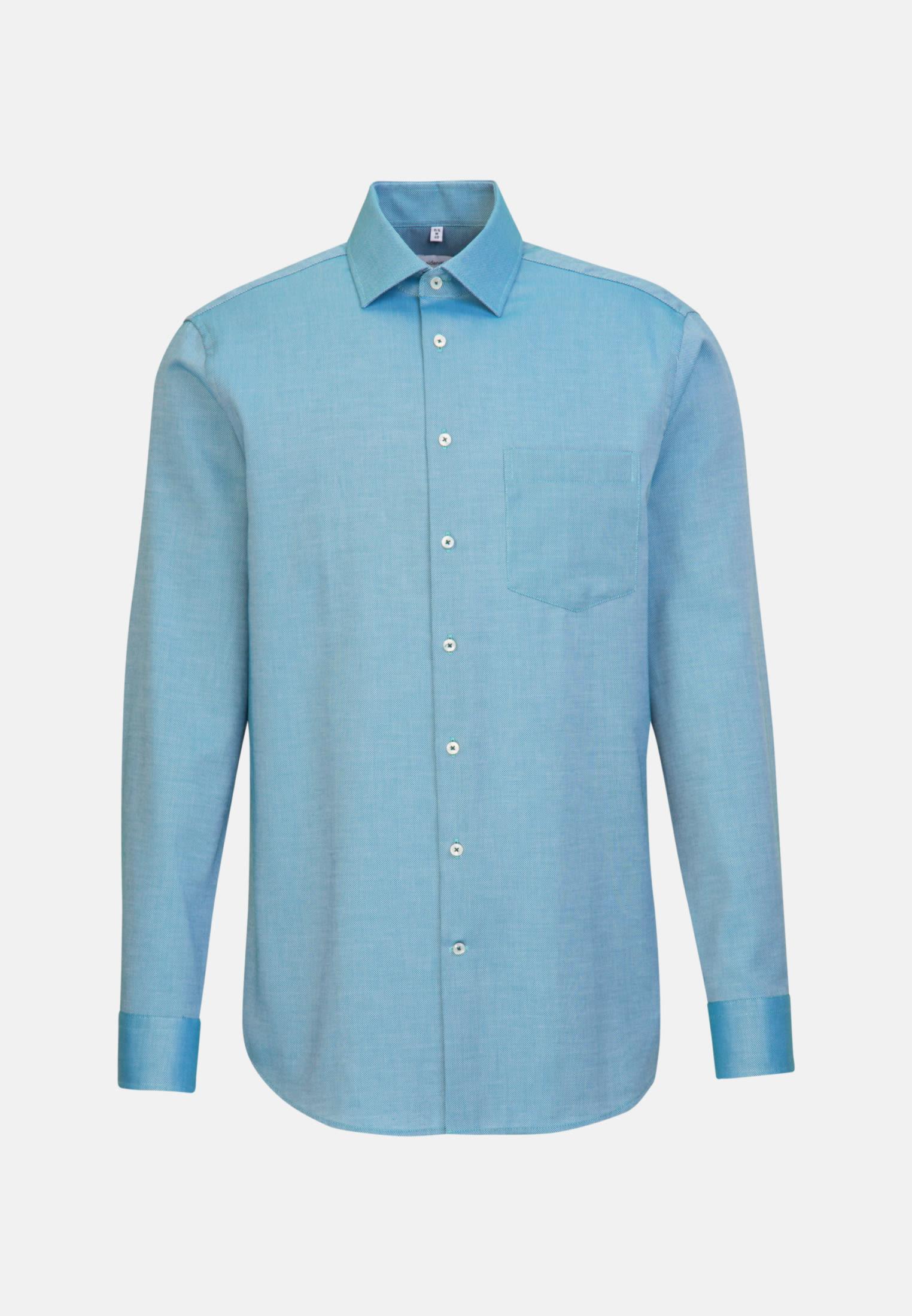 Non-iron Structure Business Shirt in Regular with Kent-Collar in Türkis/Petrol |  Seidensticker Onlineshop