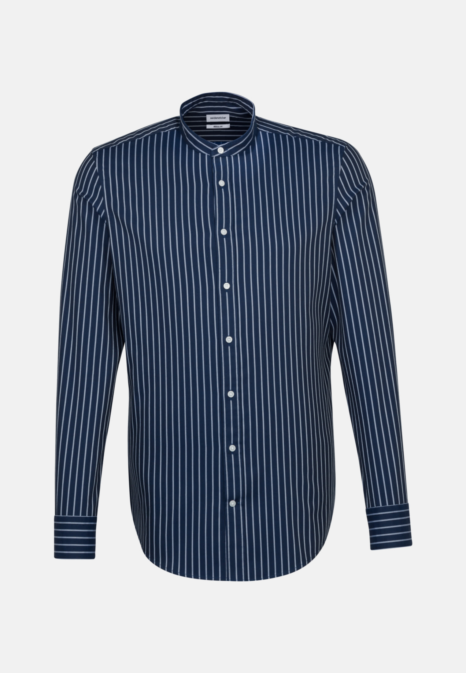 Easy-iron Twill Business Shirt in Regular with Stand-Up Collar in Dark blue |  Seidensticker Onlineshop