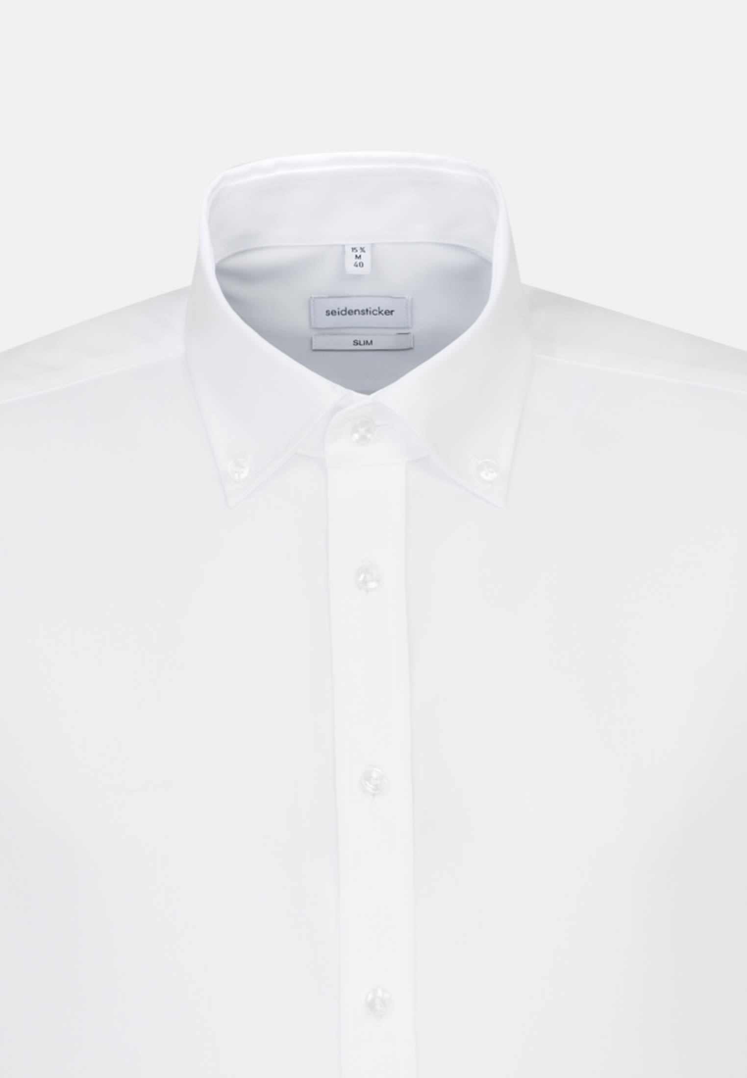 Bügelfreies Popeline Kurzarm Business Hemd in Slim mit Button-Down-Kragen in Weiß |  Seidensticker Onlineshop